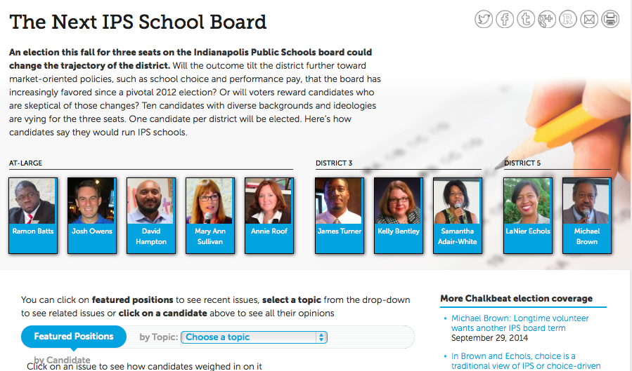 Chalkbeat's election tracker helped voters navigate their choices for IPS school board last fall.