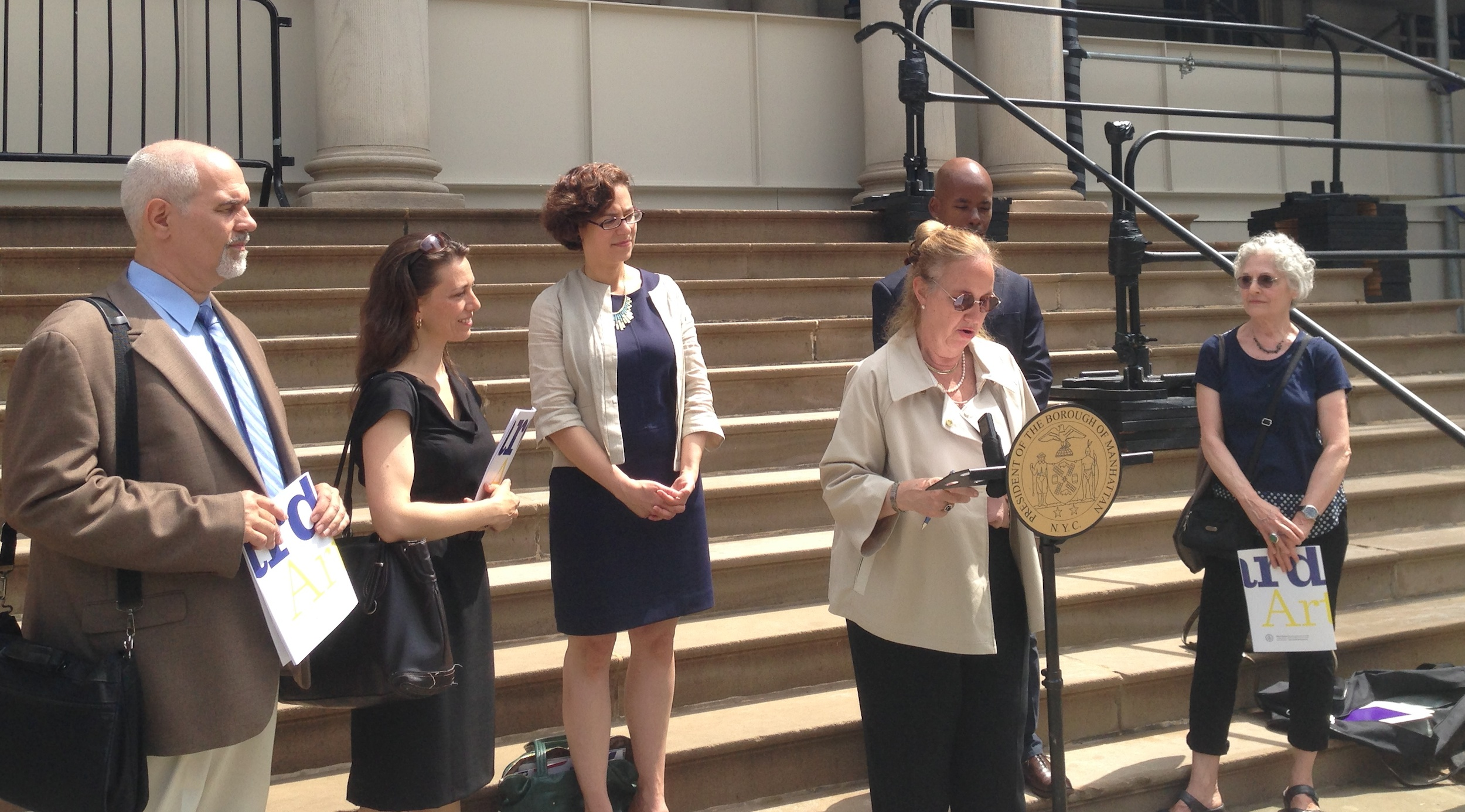 Manhattan Borough President Gale Brewer said some of the city's arts funding will go toward co-located schools.
