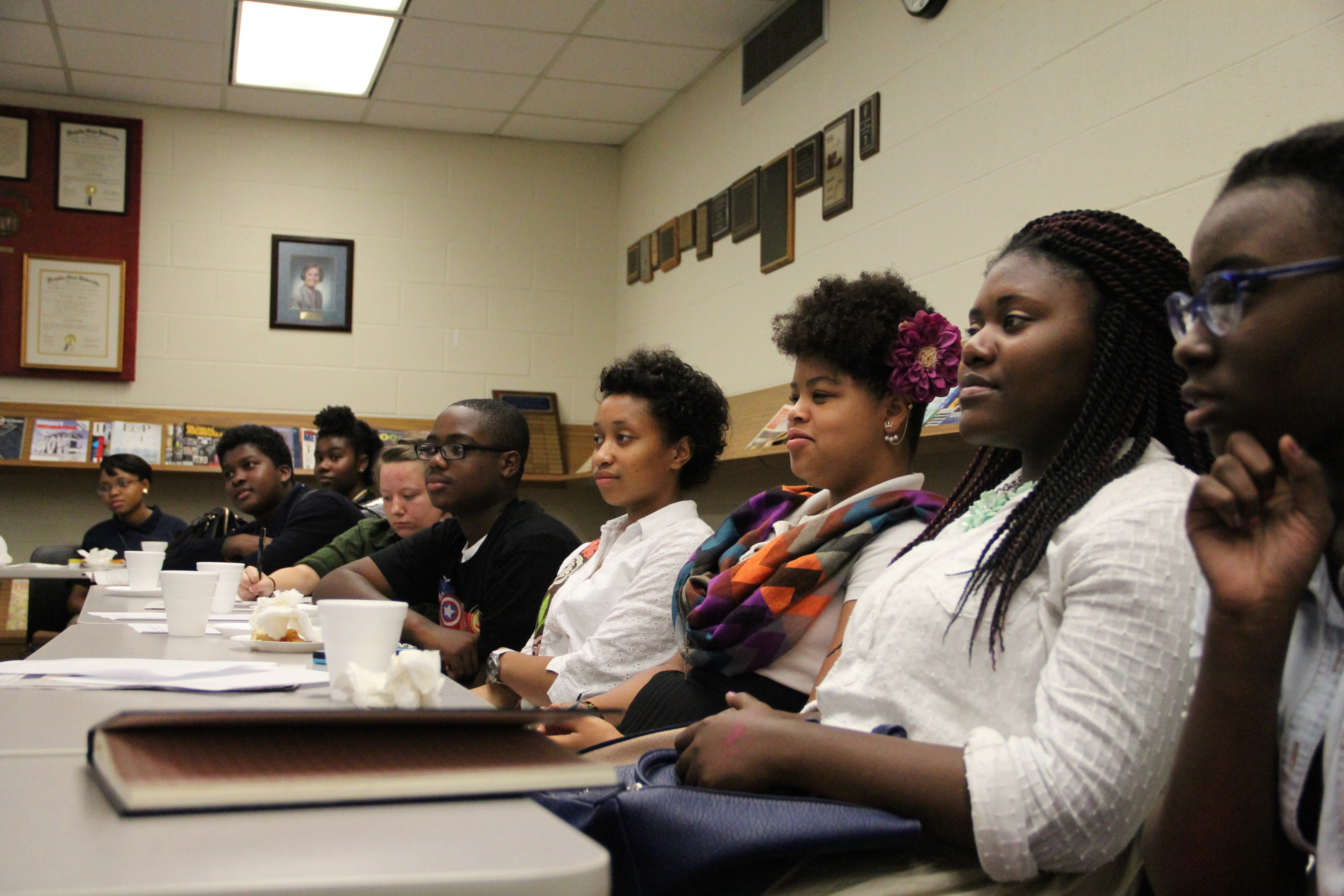 Student journalists with The Teen Appeal meet for their monthly editorial meeting on the campus of the University of Memphis.