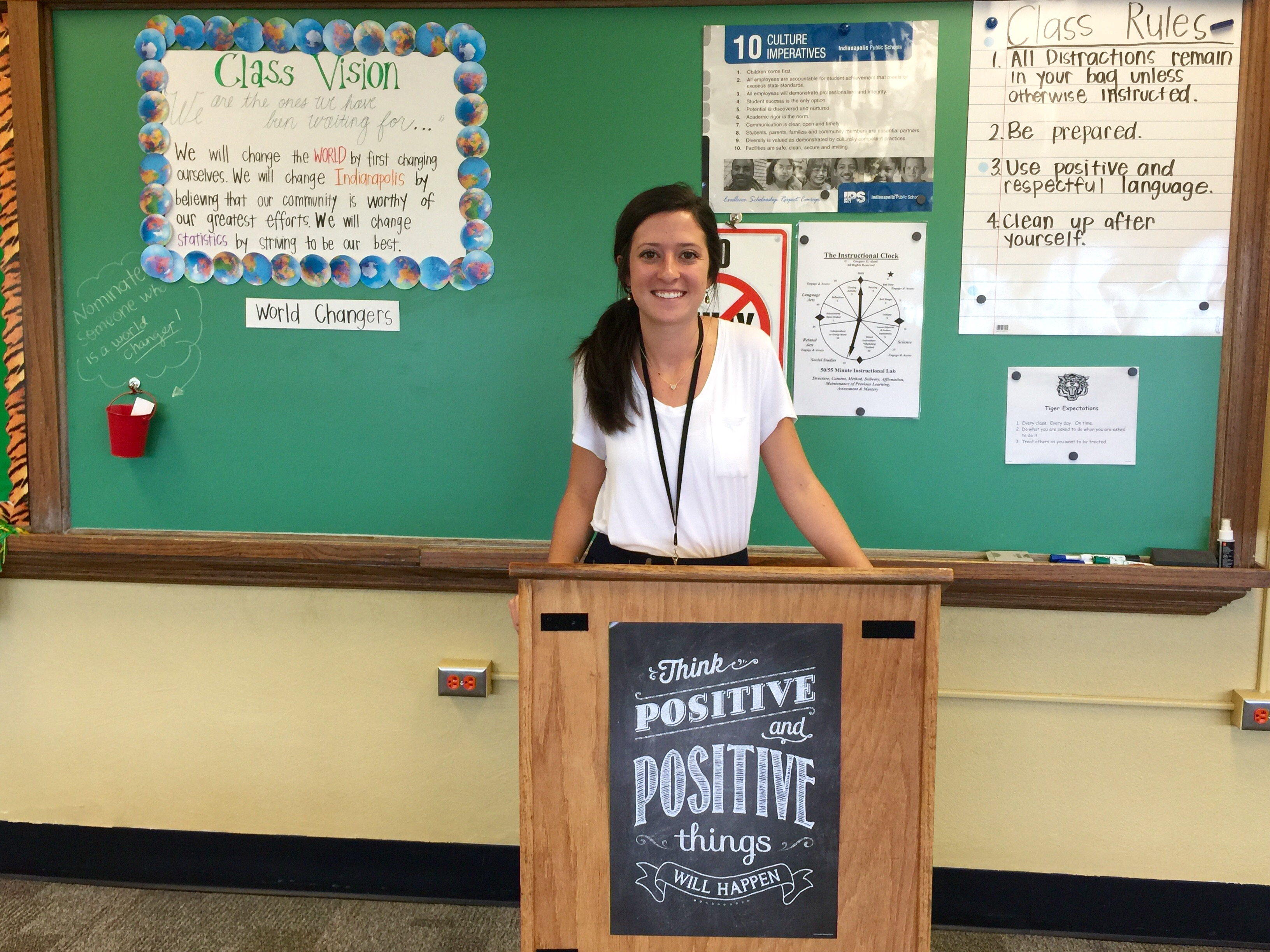 Morgan Cooksey, a first-year Teach for America corps member, stands behind a podium at the front of her class at Crispus Attucks Medical Magnet High School. Just three months ago, Cooksey was a political science major at the University of Louisville. Now she's a teacher in the lowest-performing school district in Indianapolis.