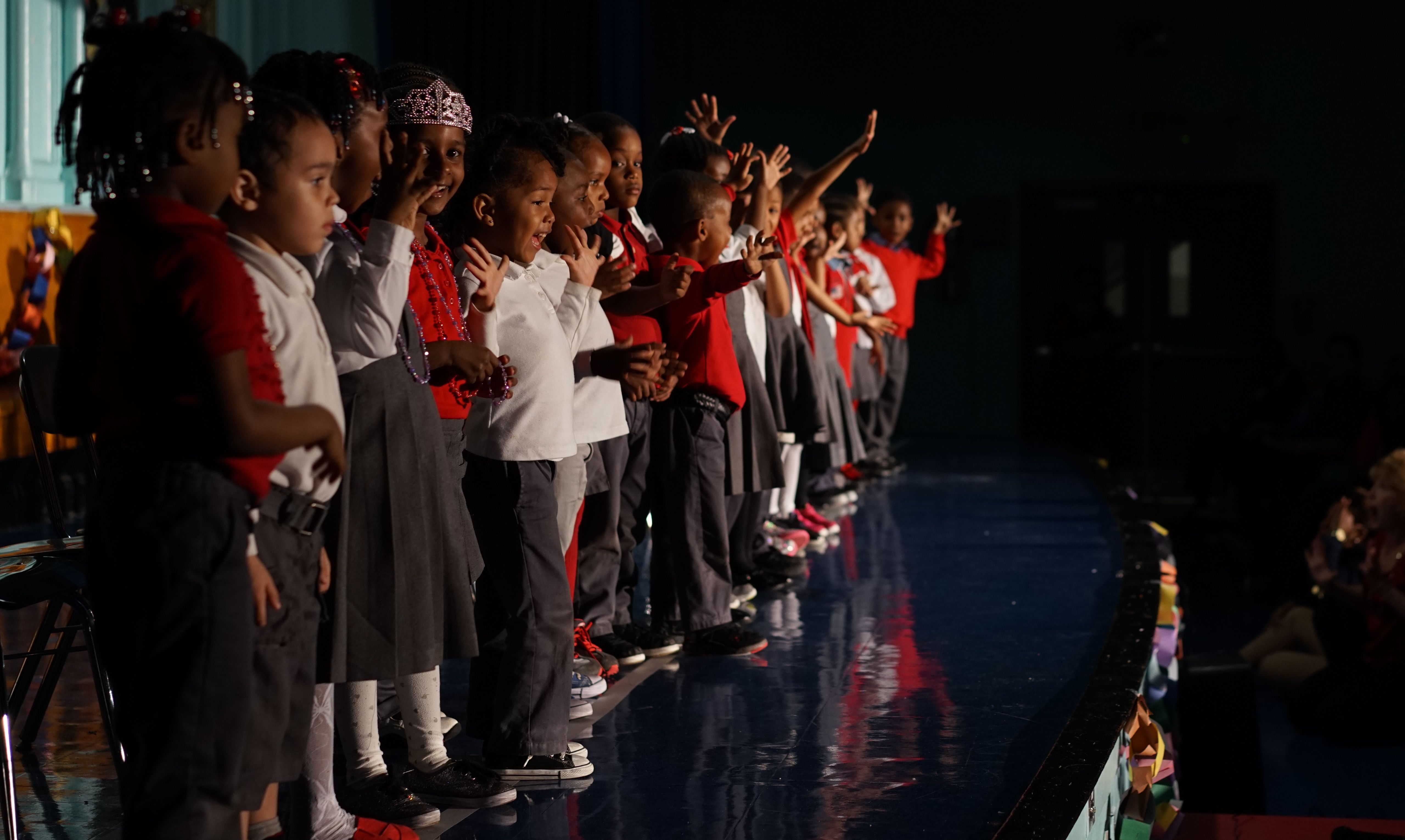 Pre-K students during a performance at New Bridges Elementary.