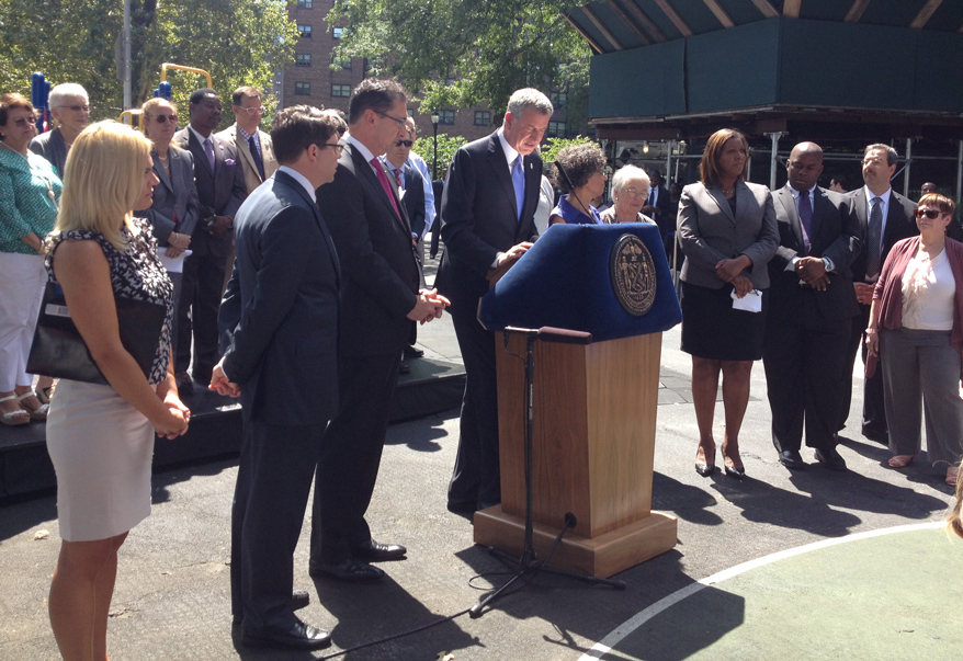 Mayor Bill de Blasio announced that 95 percent of the 53,000 pre-k seats are filled, one week from the start of classes.