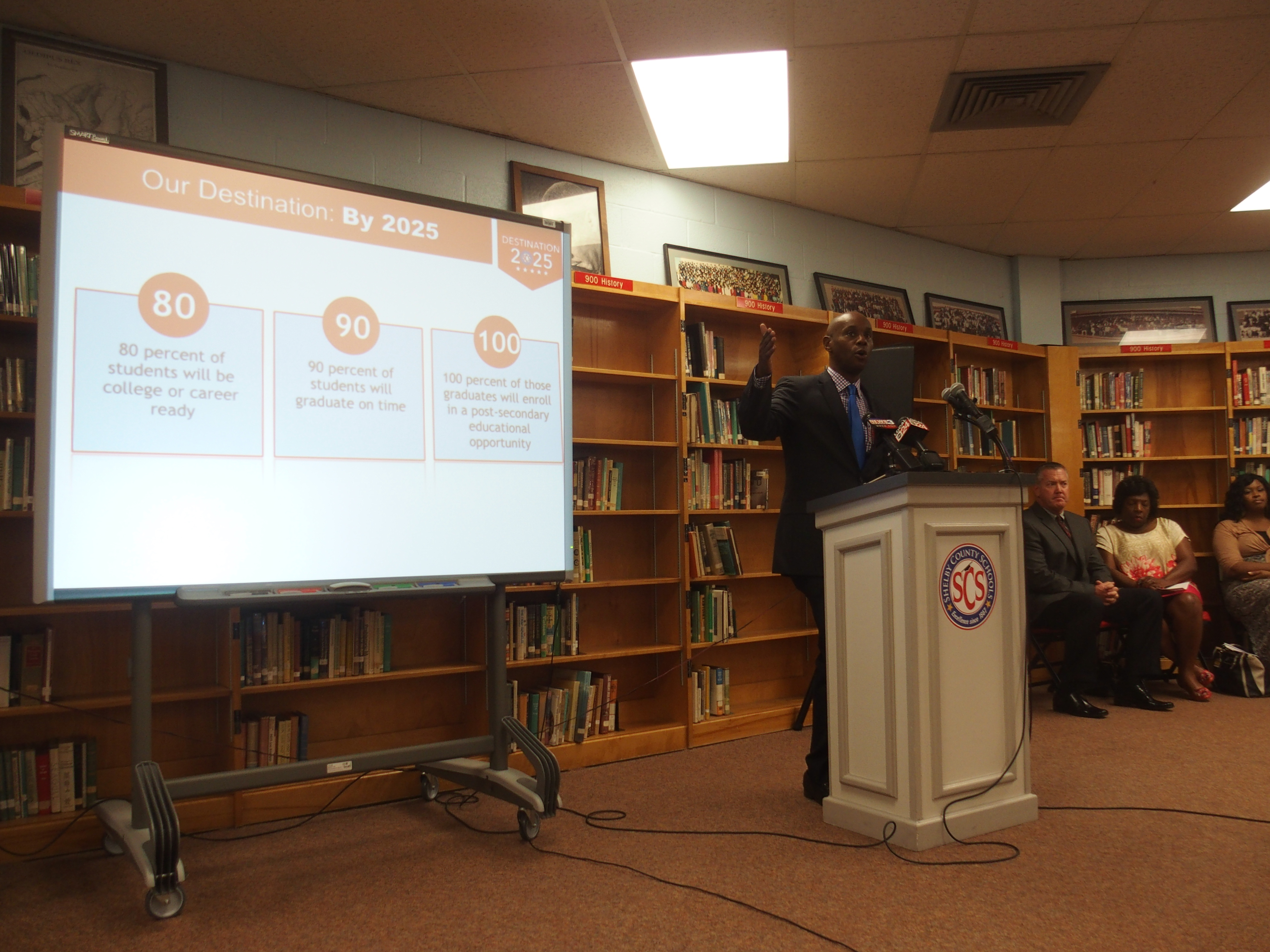 Shelby County Superintendent Dorsey Hopson announces the district's 2015 test results at a July news conference at Raleigh-Egypt High School in Memphis. Next year, results won't be released until the fall.