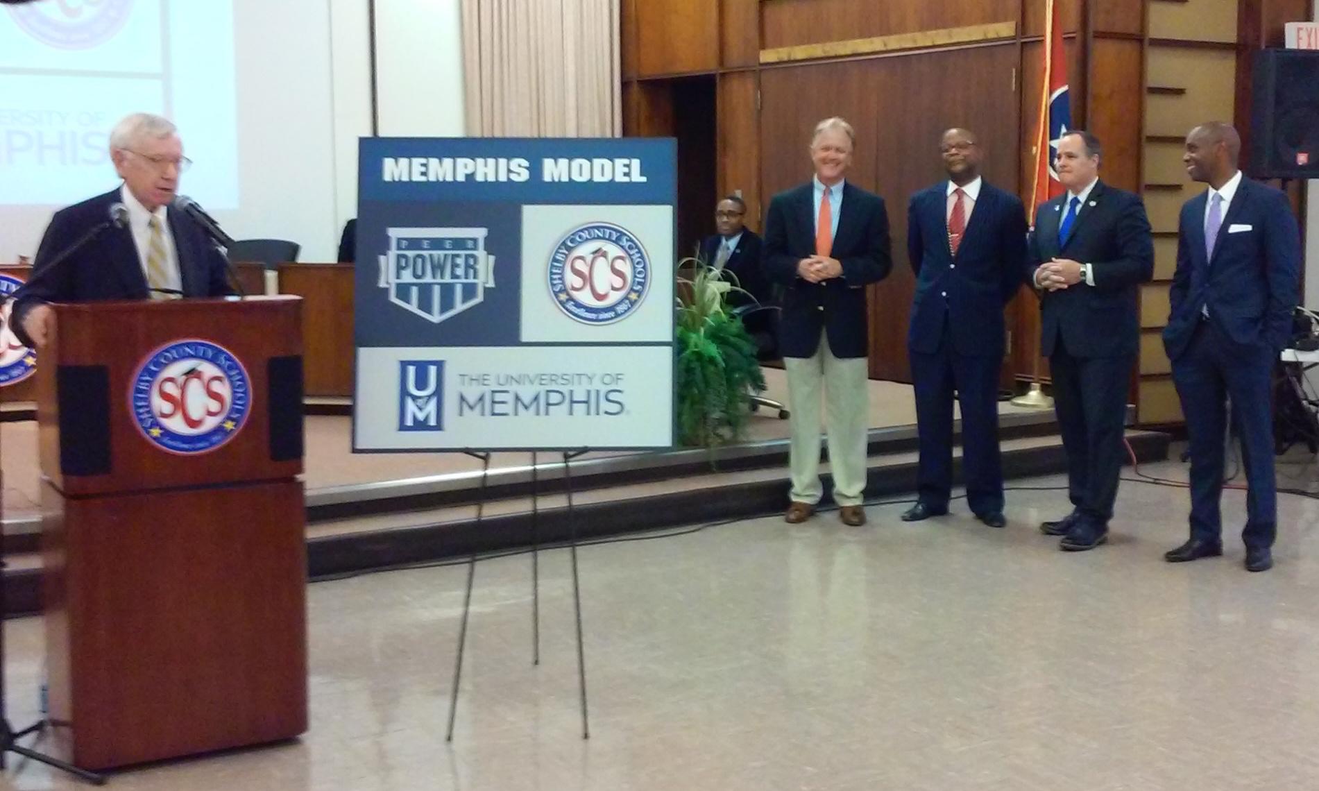 "Memphis businessman and philanthropist Charlie McVean (at left) unveils an educational partnership known as the ""Memphis Model."""