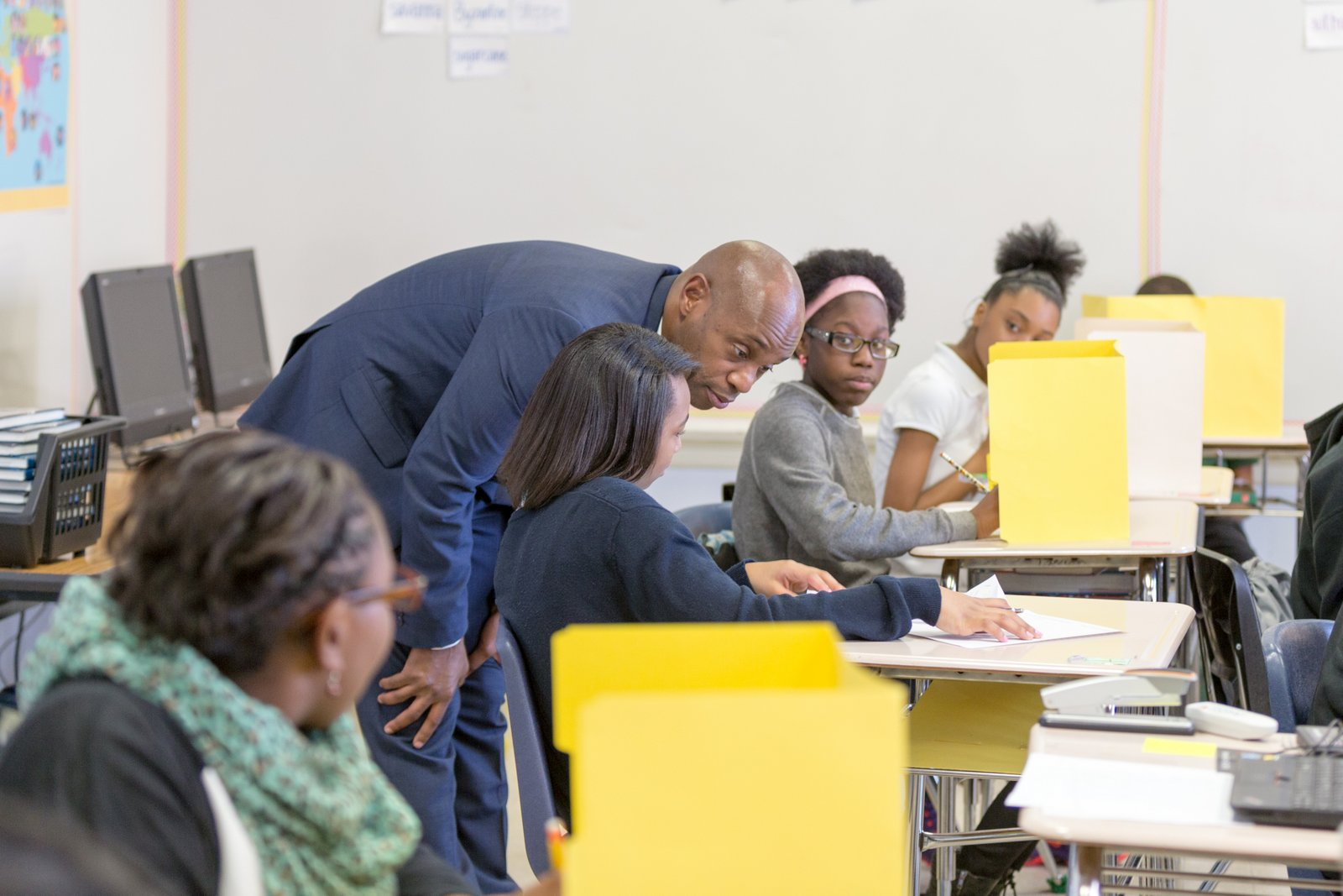 """Superintendent Dorsey Hopson visits classrooms and students at Snowden School in Memphis. Hopson has proposed $50 million in cuts to staffing and programs for Shelby County Schools and describes the school system's financial situation as """"dire."""""""
