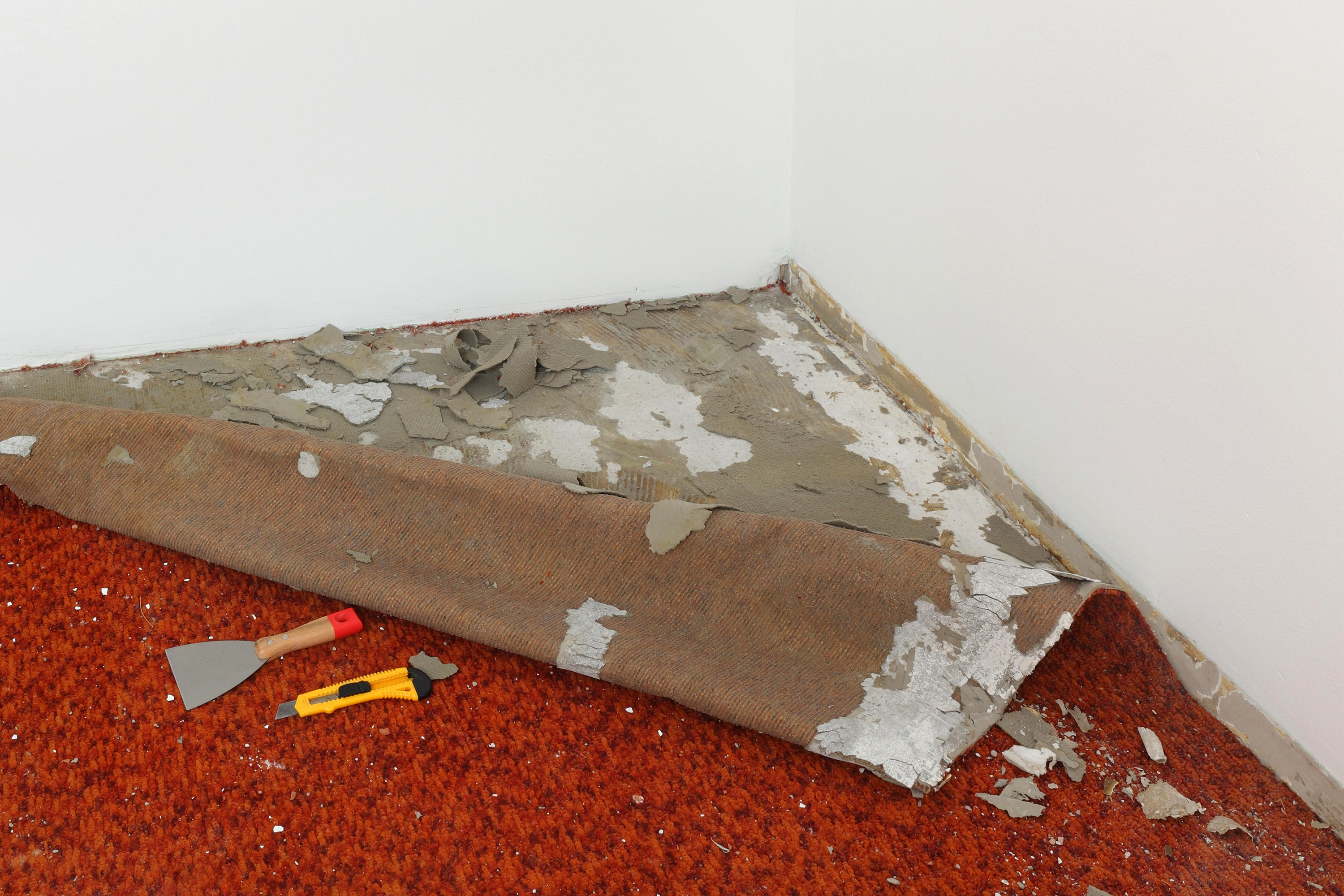 Carpet being removed.