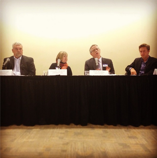 A panel including, from left, Sheridan Schools Superintendent Mike Clough, Denver Preschool Program CEO Jennifer Landrum, Littleton Public School Superintendent Scott Murphy and State Sen. Mike Johnston couldn't answer, specifically, how the state should move forward after voters rejected an income tax increase to overhaul education funding. Photo by Maura Walz
