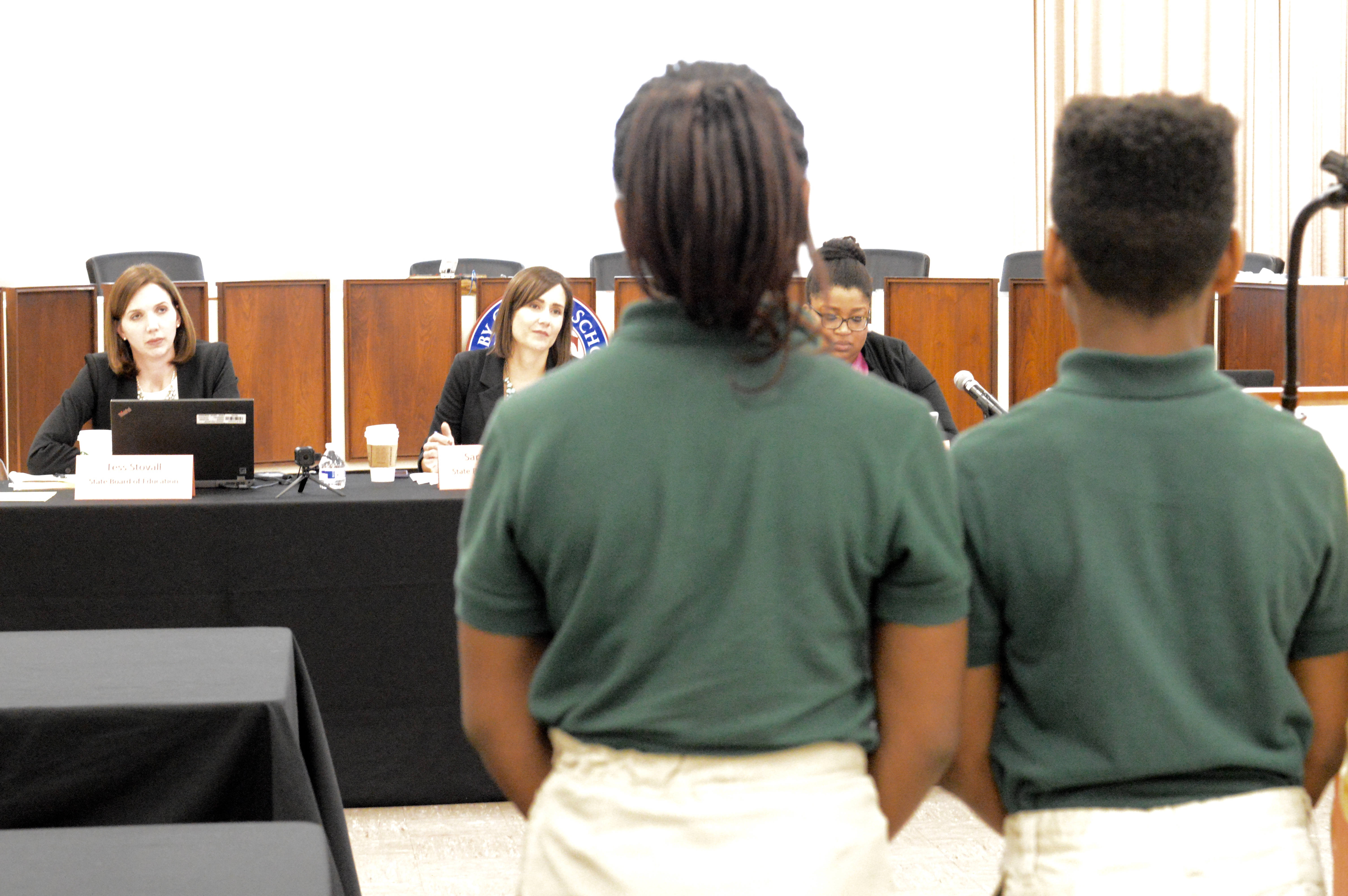 Southern Avenue Middle School students make their case against their school's charter revocation to Sara Heyburn and other members of the Tennessee State Board of Education.
