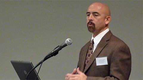 Lt. Gov. Joe Garcia speaks at higher education summit Dec. 2, 2011.
