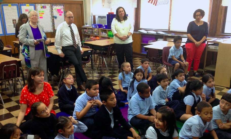Chancellor Carmen Fariña visits a third grade class. Early elementary years are where students are most likely to be in classrooms that exceed recommended sizes.
