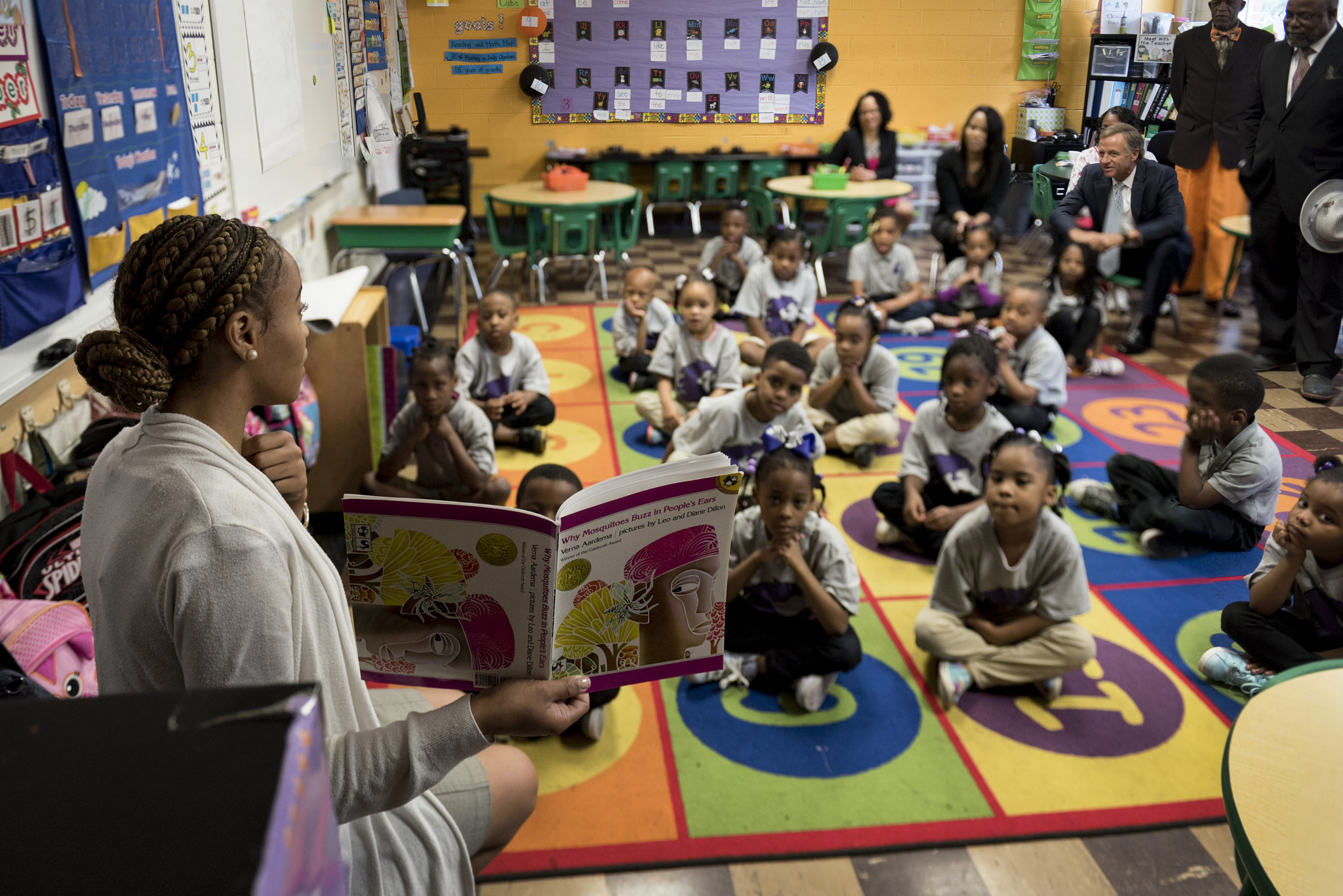 A teacher instructs students at Aspire Coleman Elementary School on May 12 as Gov. Bill Haslam and other officials visit the Memphis charter school operated under Tennessee's Achievement School District.