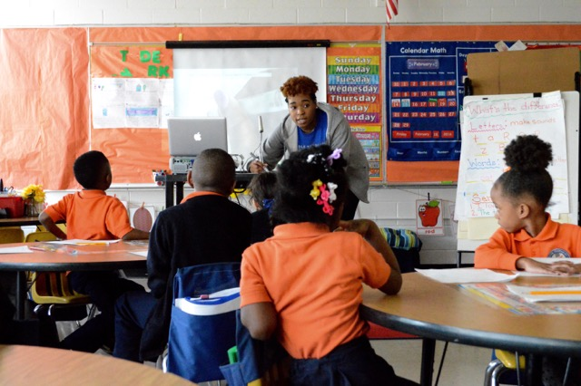 A teacher-in-training at Freedom Preparatory Academy, a charter school in Memphis.