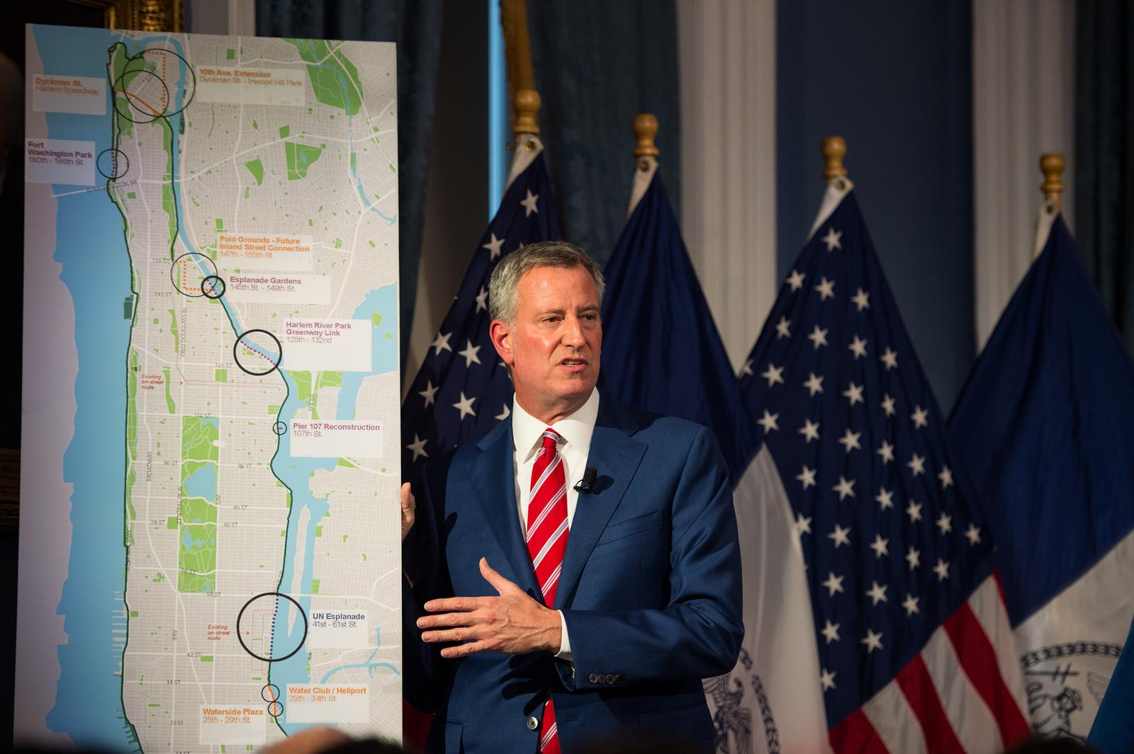 New York City Mayor Bill de Blasio unveils his executive budget.