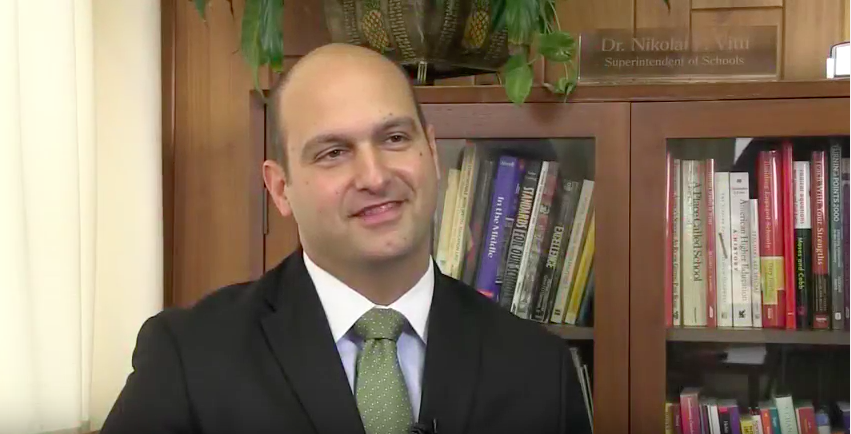 Nikolai Vitti, superintendent of Detroit schools, speaks in a video in Jacksonville, Fla., where he was superintendent before coming to Detroit.