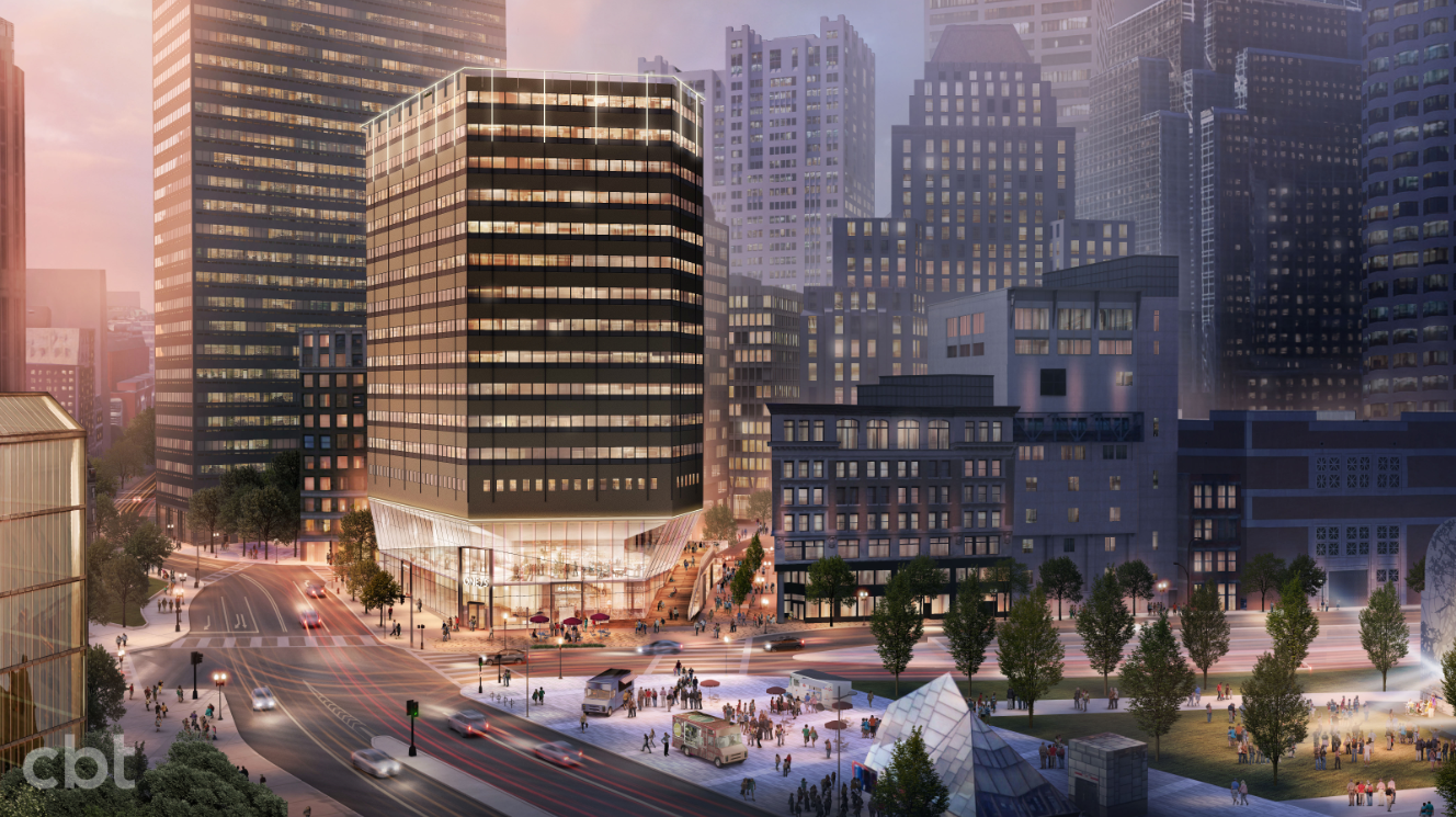 Rendering of a glassy, bright office building as it meets the street.