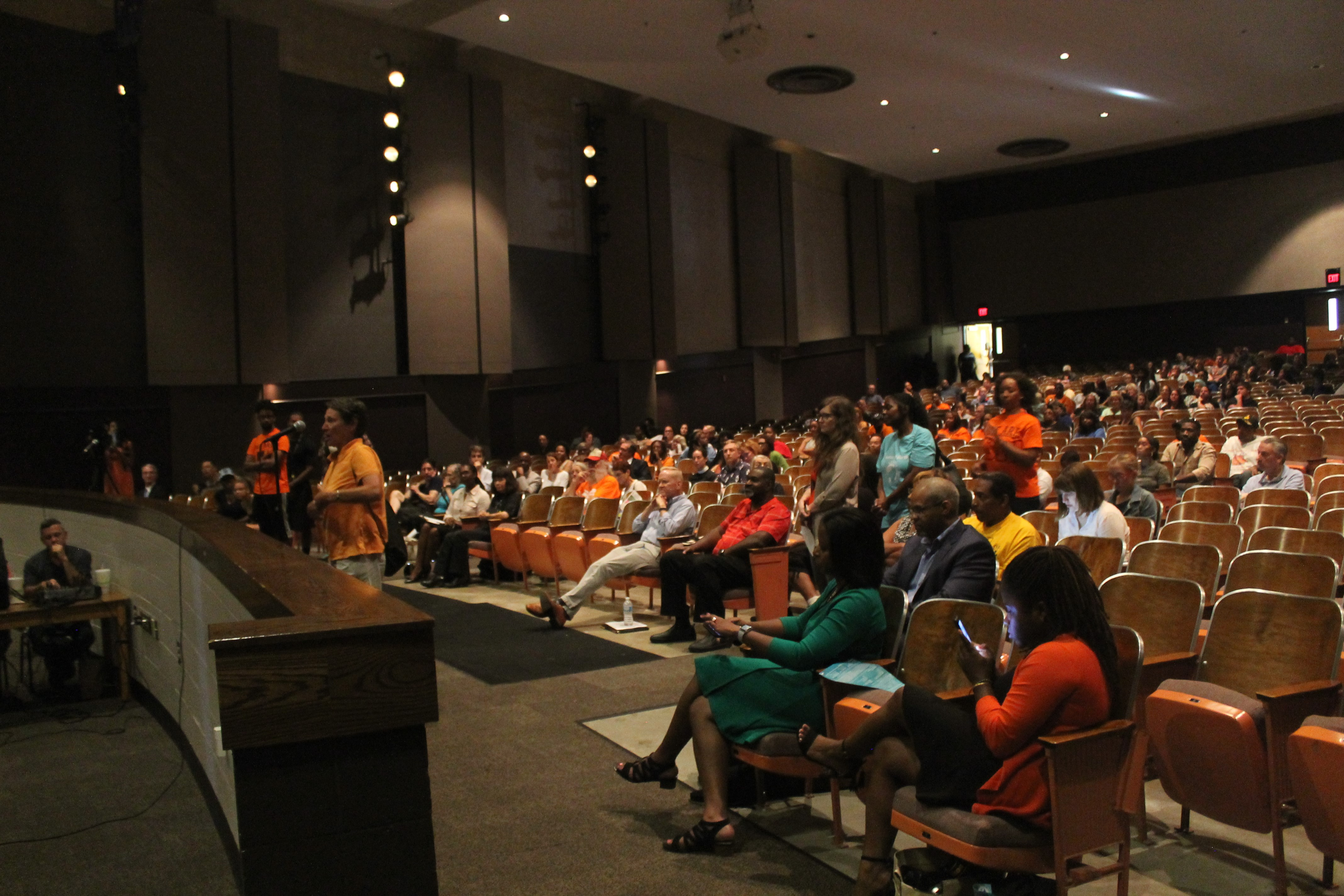 Hundreds of people gathered in the Broad Ripple High School auditorium Tuesday night.