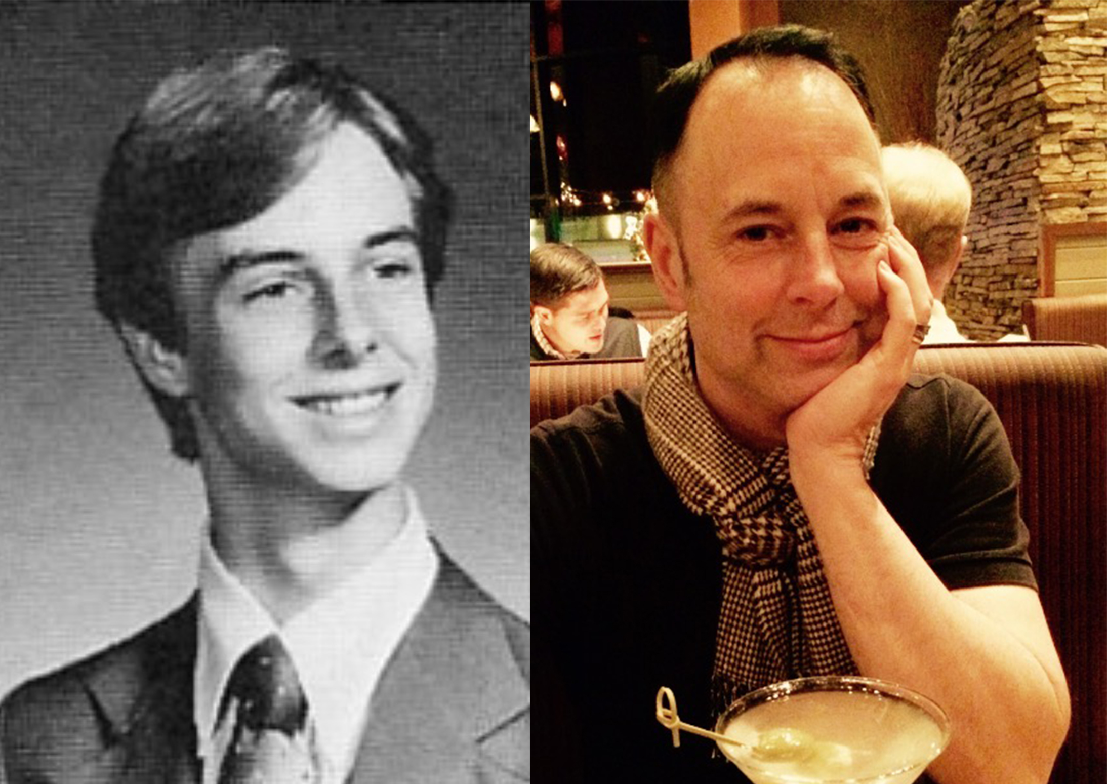 Bill Franklin, Northwest High School Class of 1980, as a high-schooler (left) and as an adult (right).