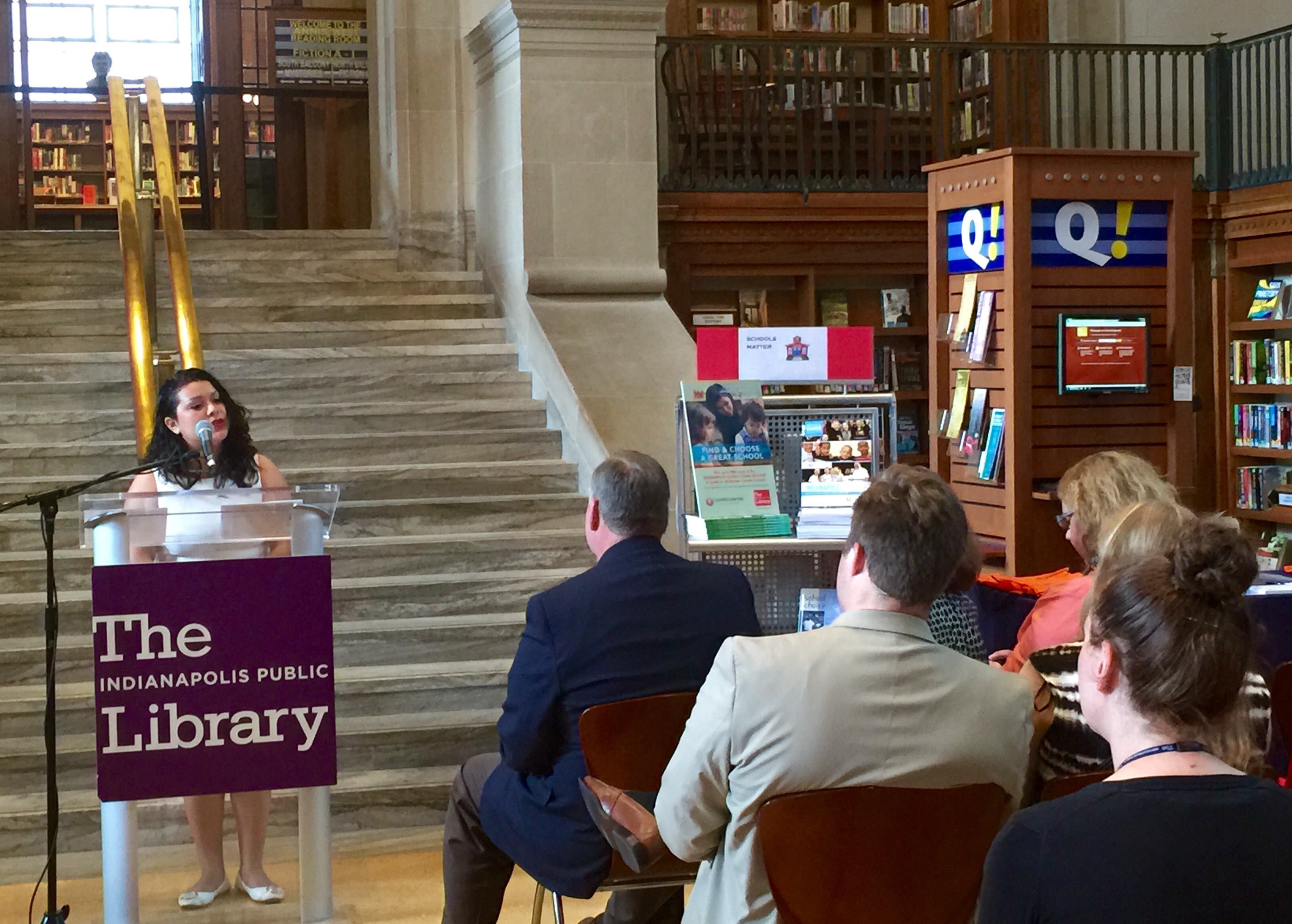 Lesvi De La Cruz speaks to a small crowd Tuesday at Central Library about how GreatSchools.org helped her find the best school for her son when she moved to Indianapolis in 2012.