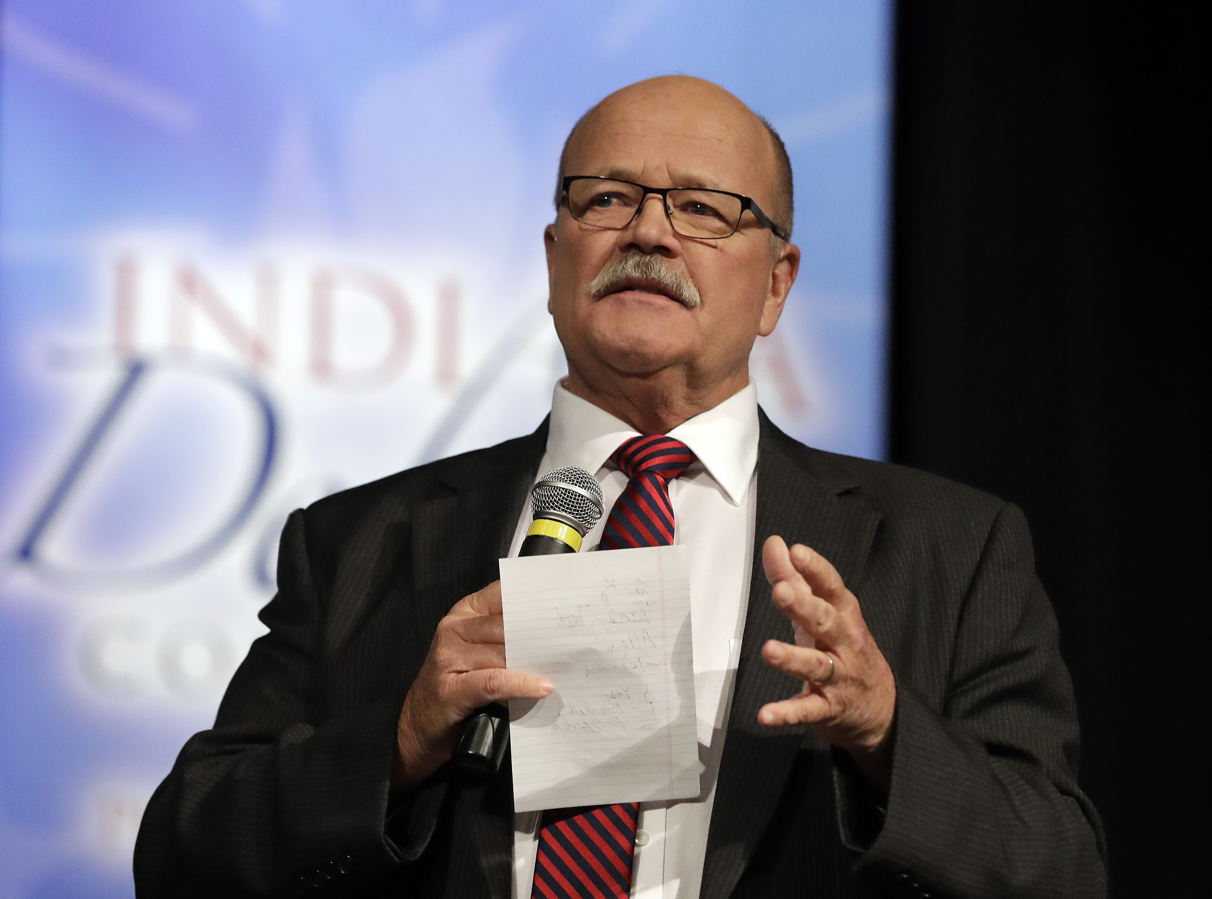 Libertarian Rex Bell, middle, responds to a question during a debate for Indiana Governor, Tuesday, Sept. 27, 2016, in Indianapolis. Democrat John Gregg and Republican Lt. Gov. Eric Holcomb also participated in the debate.