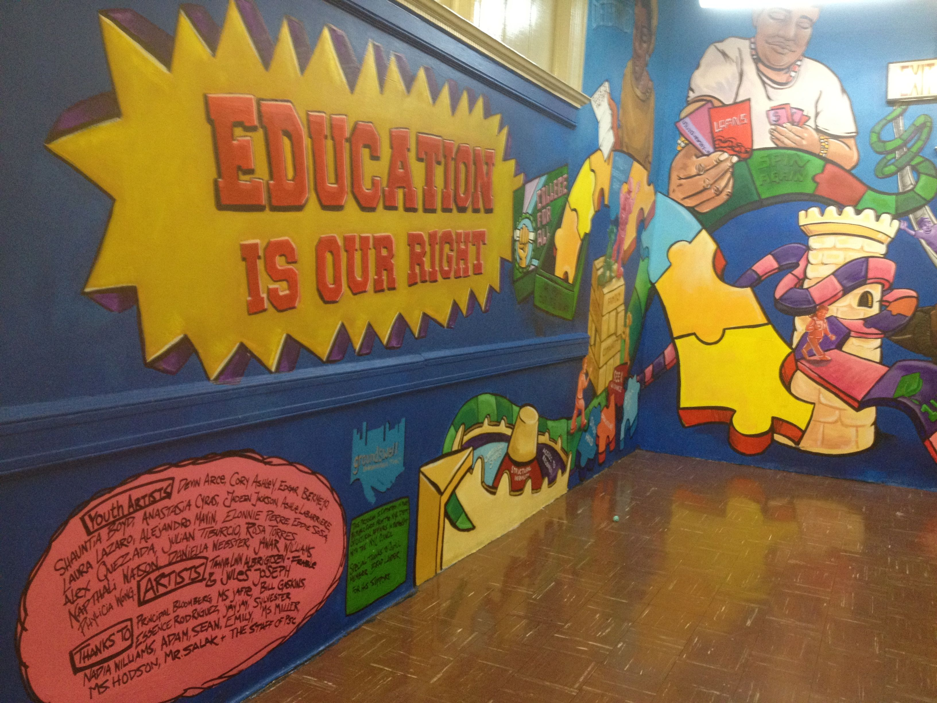 Students from Park Slope Collegiate and the Secondary School for Law, which are both housed at John Jay, teamed up to paint this mural at Park Slope Collegiate.
