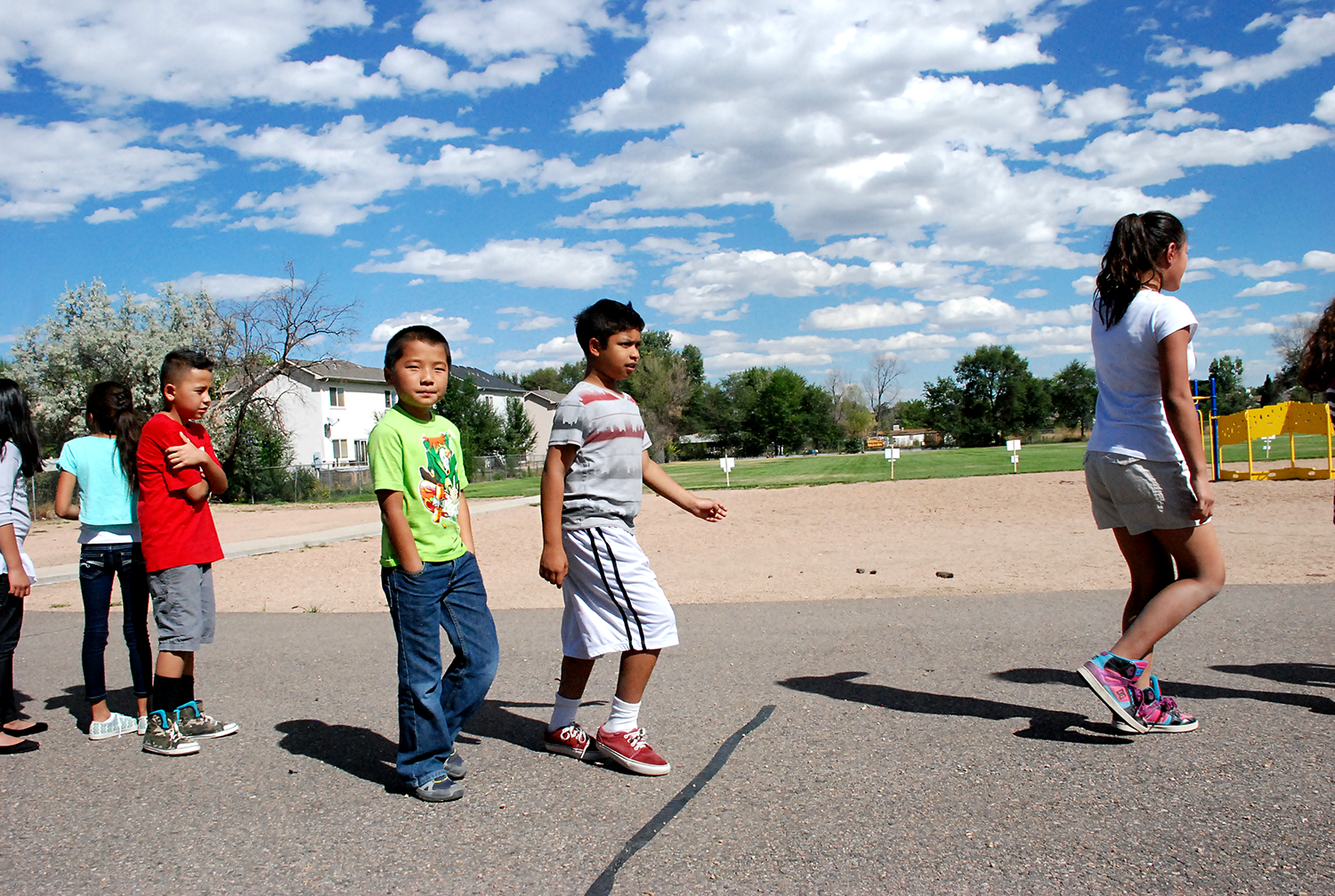 Tennyson Knolls students return to school after a ribbon-cutting ceremony on school grounds in September.