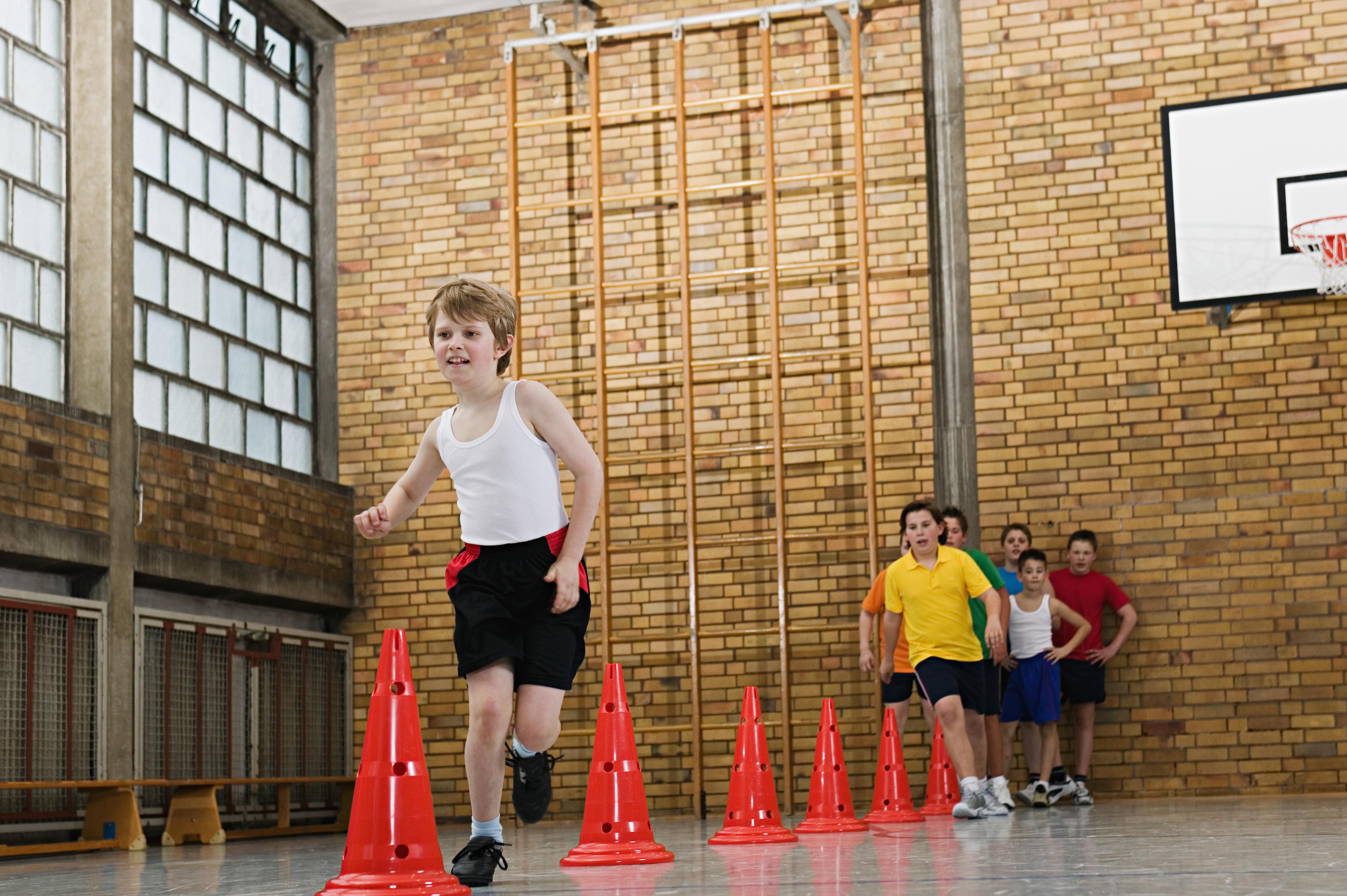 Boy running a slalom race