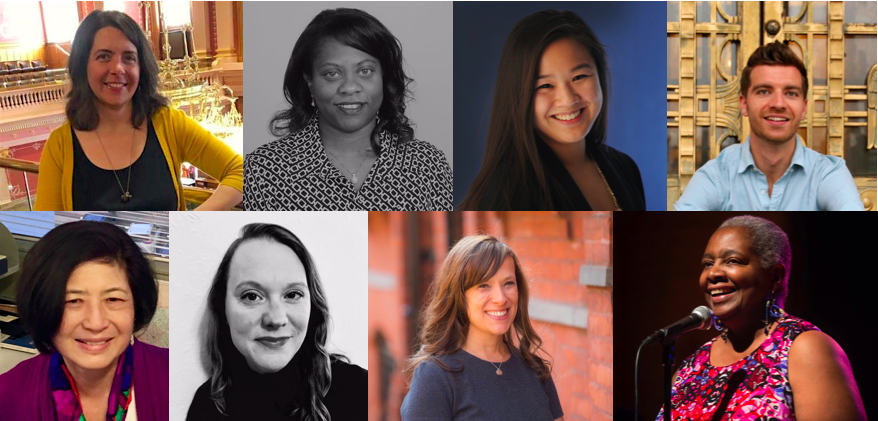 Chalkbeat's newest local leaders and our new slate of story editors. Clockwise from top: Colorado bureau chief Erica Meltzer, Tennessee bureau chief Jacinthia Jones, Indiana bureau chief Stephanie Wang, Newark correspondent Patrick Wall, story editor Julie Topping, story editor Carrie Melago, Chicago bureau chief Cassie Walker Burke, and story editor Sharon Noguchi.