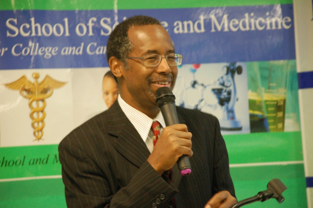 Dr. Benjamin Carson, now U.S. secretary of housing and urban development, on a visit to the Detroit high school that was named for him.