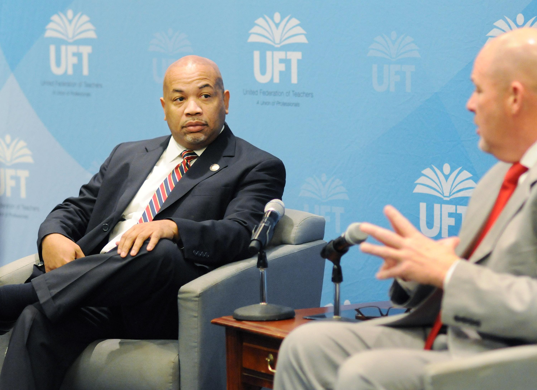UFT President Michael Mulgrew interviews New York State Assembly Speaker Carl Heastie.