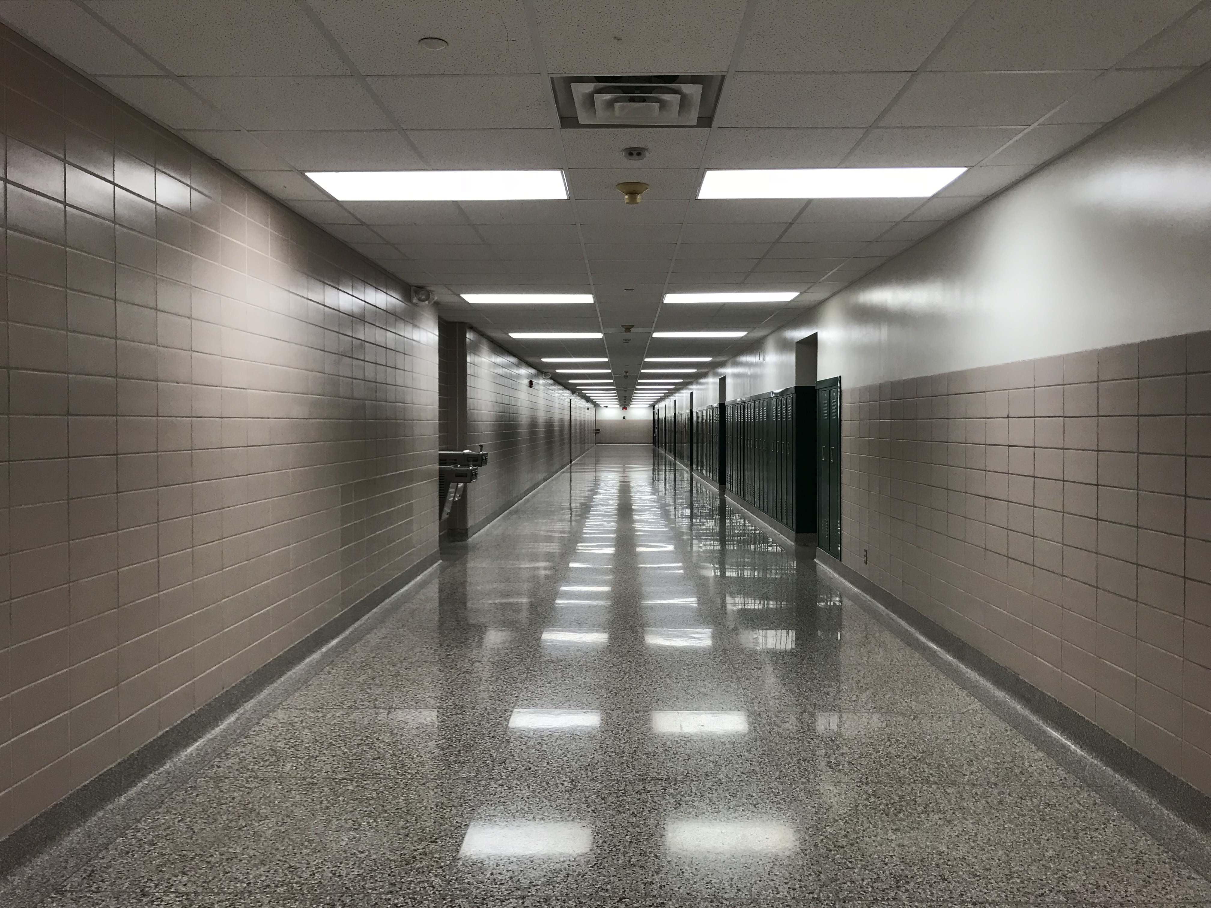 Hallways at Arlington High School are empty after the last day of school in 2018. The school is one of three Indianapolis high schools closing.