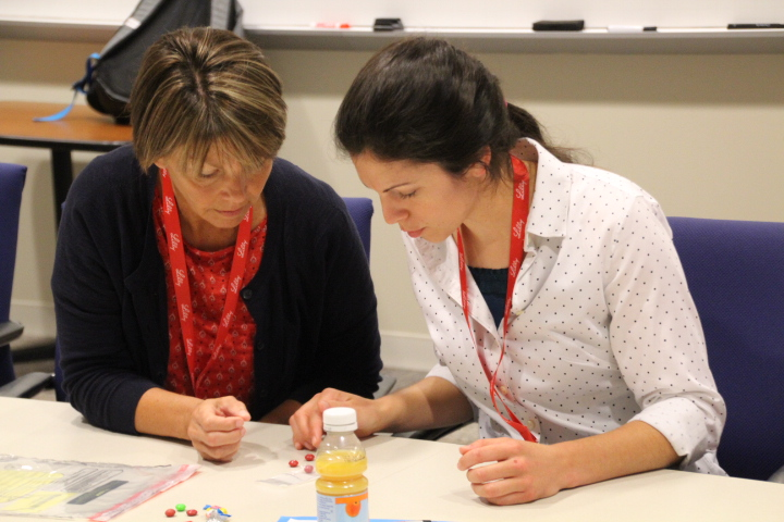 Teachers Paula Manchess (left) and Heidi Wilkinson (right) work to detect counterfeit medicines by creating a process to identify the correct color, shape, branding and purity of their samples.