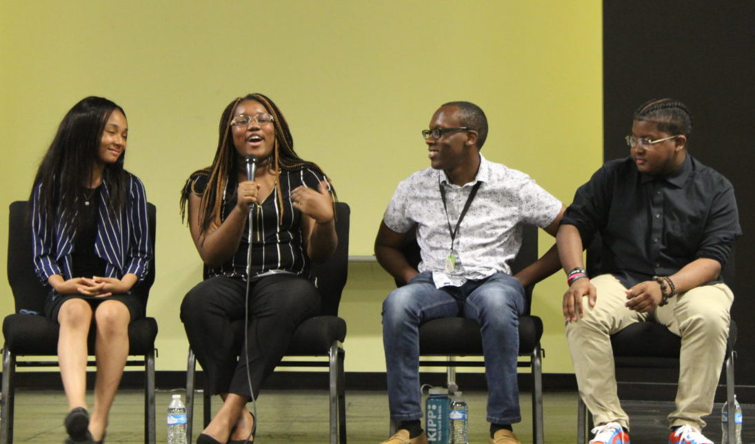 Freedom Prep student Destiny Dangerfield talks alongside Asiah Hayes, Detario Yancey, and Evan Walsh at a panel discussion for TFA Memphis trainees.
