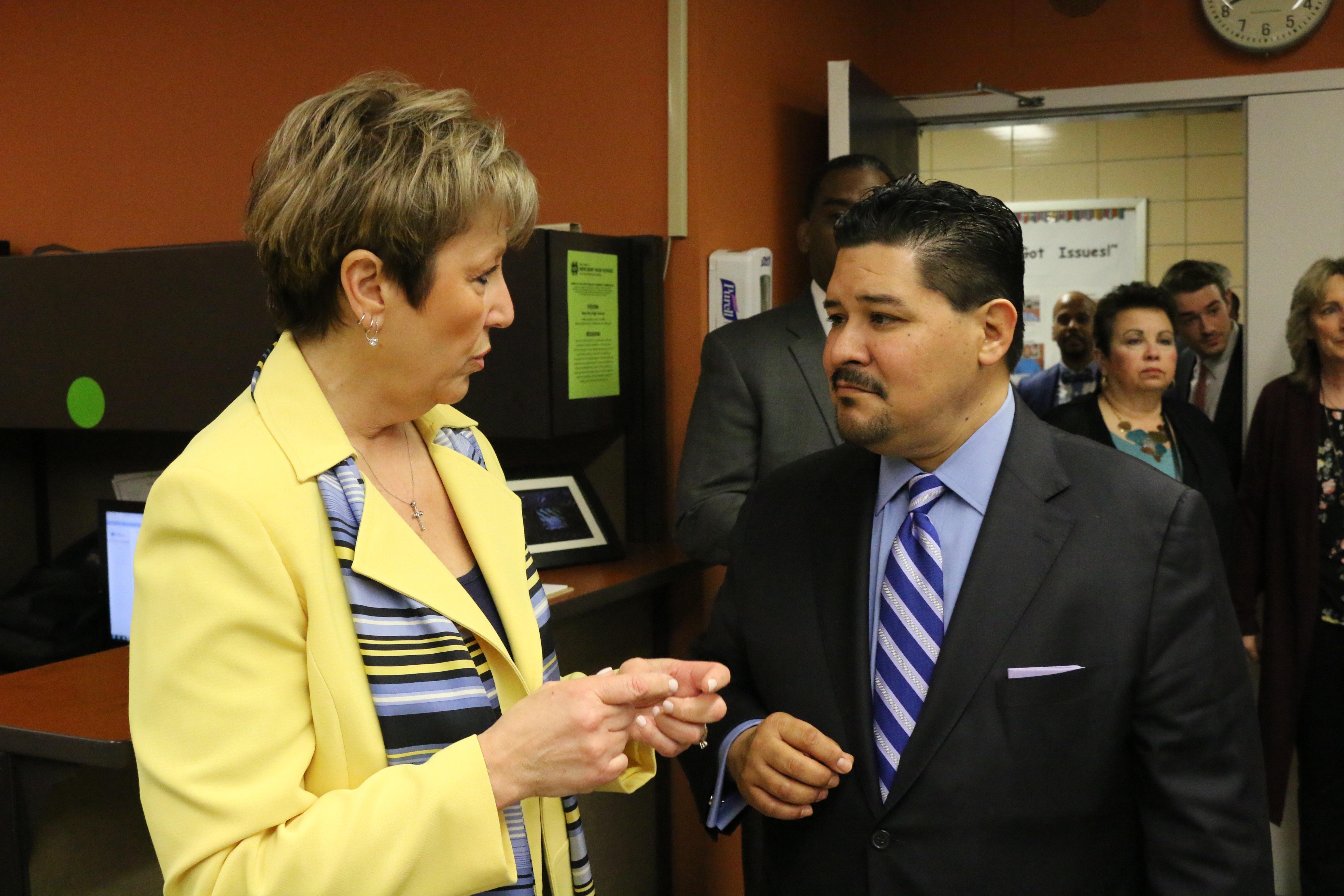 Chancellor Richard Carranza tours Staten Island's New Dorp High School with Principal Deirdre DeAngelis.