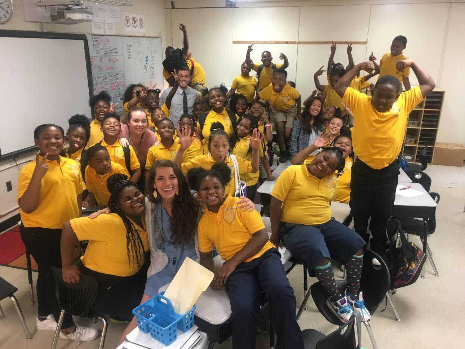 Ginny Terrell poses with her Aspire Hanley third-graders. Terrell has been teaching for four years and will move to Aspire East in the fall.