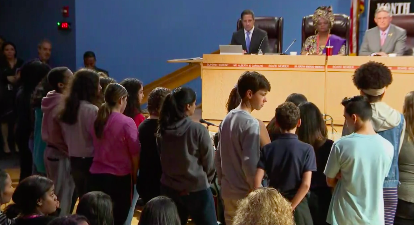 Students from Miami's iPrep, where Superintendent Alberto Carvalho also serves as principal, asked him to stay in Miami at a March 1st board meeting.