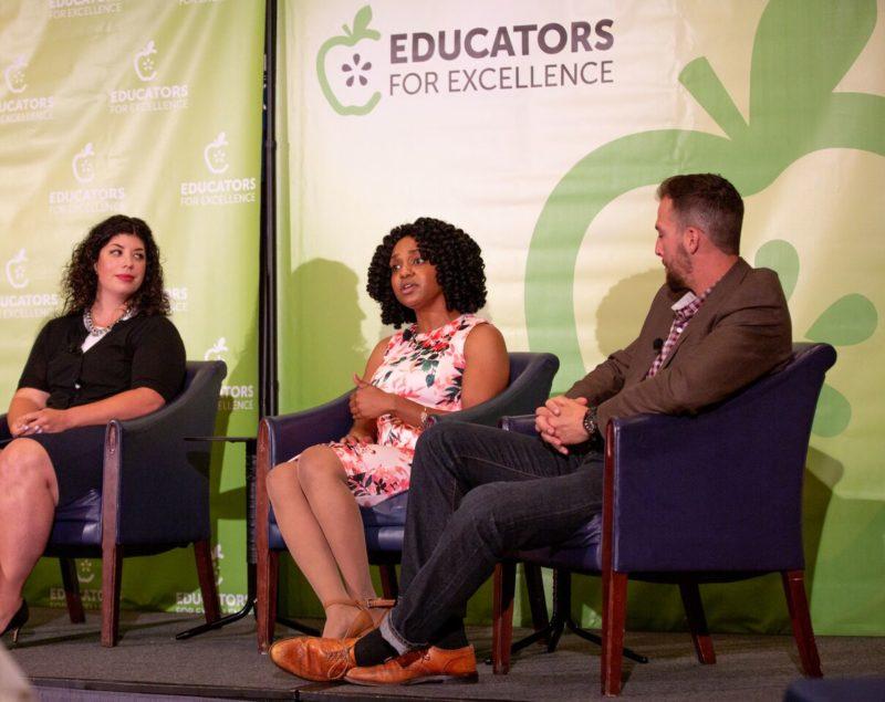 Kallie Jones (center), a Chicago Public Schools teacher, discusses results of E4E's first nationwide teacher survey