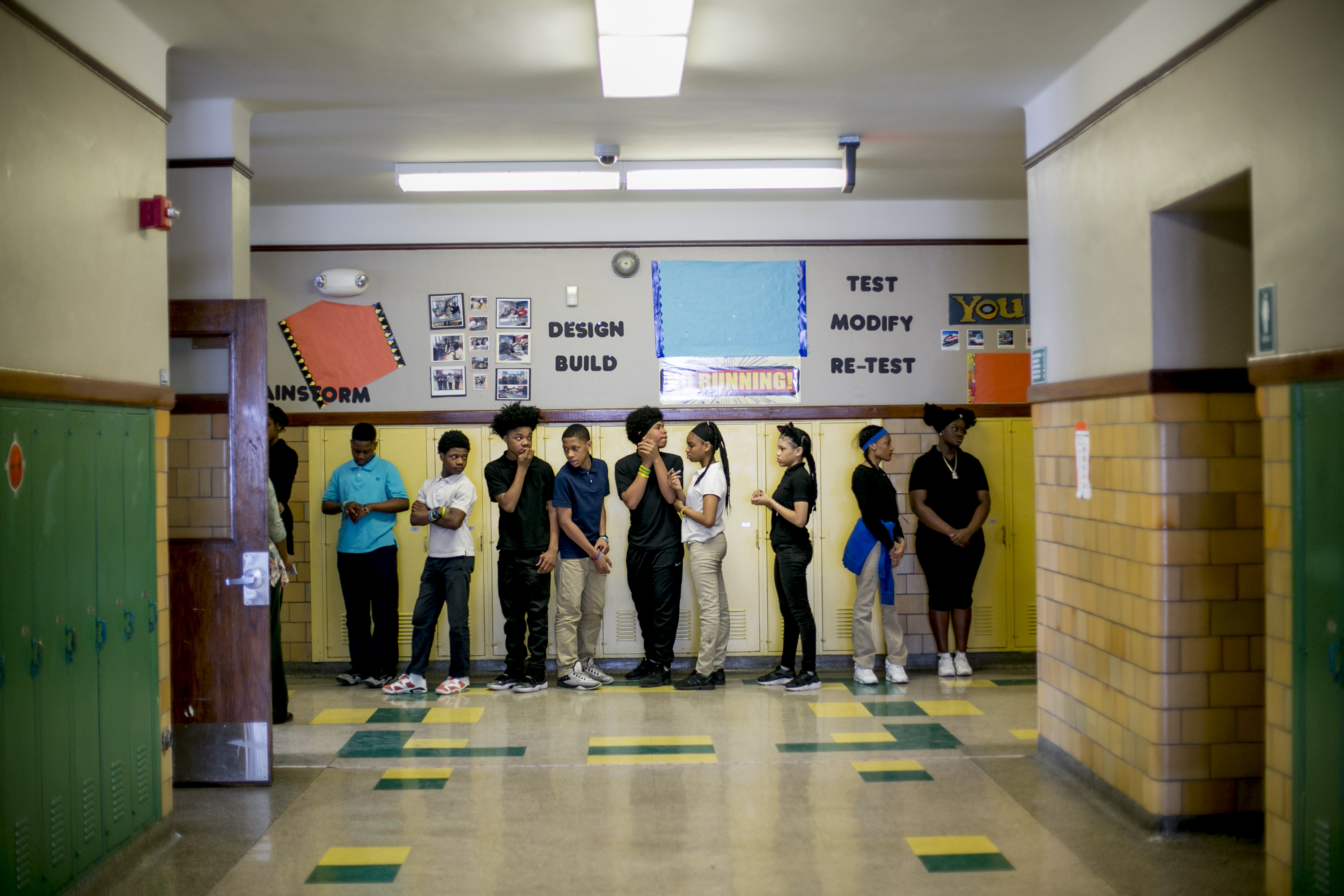 The students of Bethune Elementary-Middle School's homeroom 8B line up to go to lunch. Collectively, 31 students in the class attended 128 schools by the time they reached eighth grade.