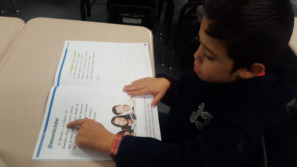A first-grade student reads in Spanish in a biliteracy classroom at Dupont Elementary in Adams 14.