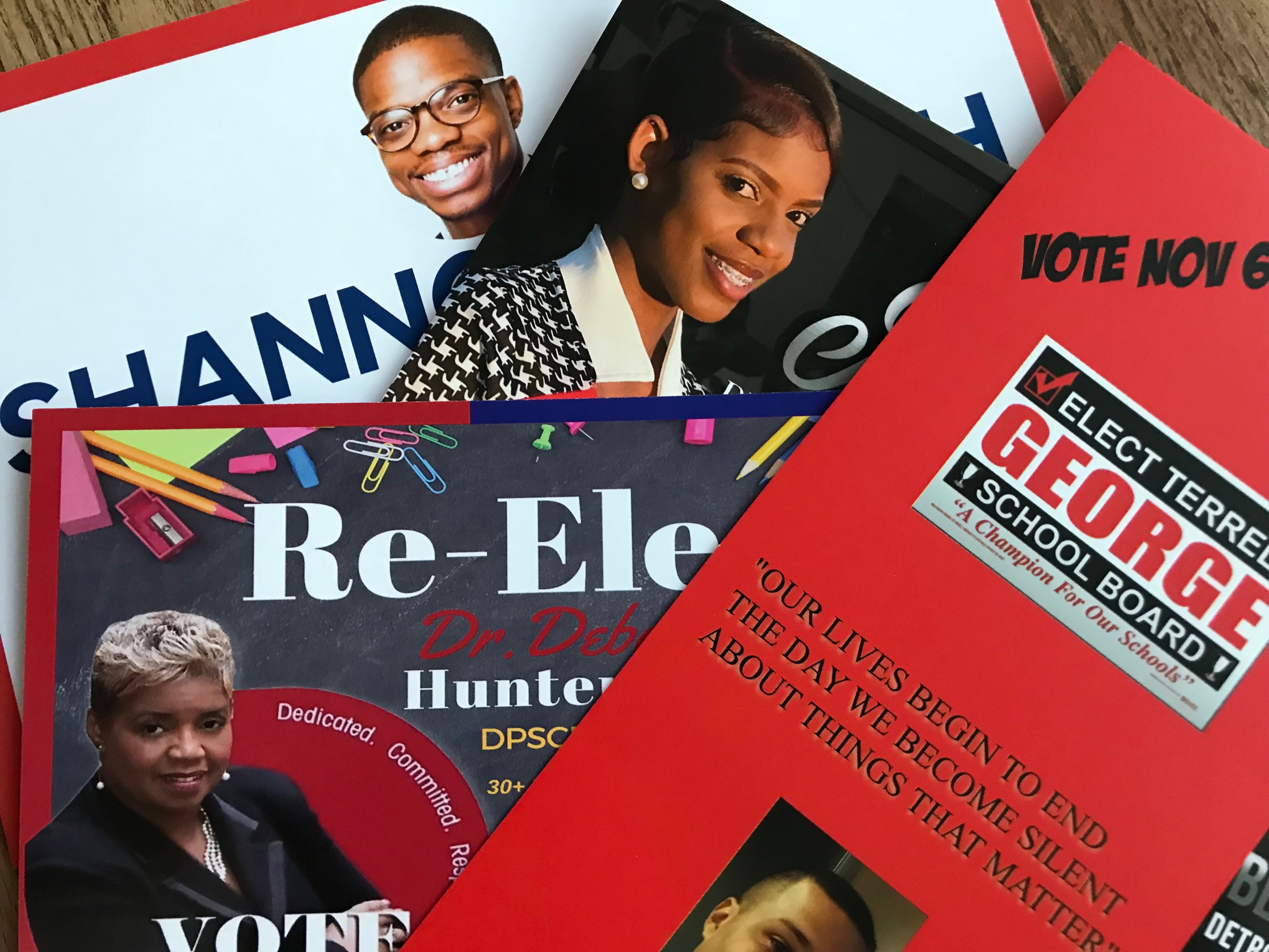 Eight candidates are running for two open seats on the Detroit school board.