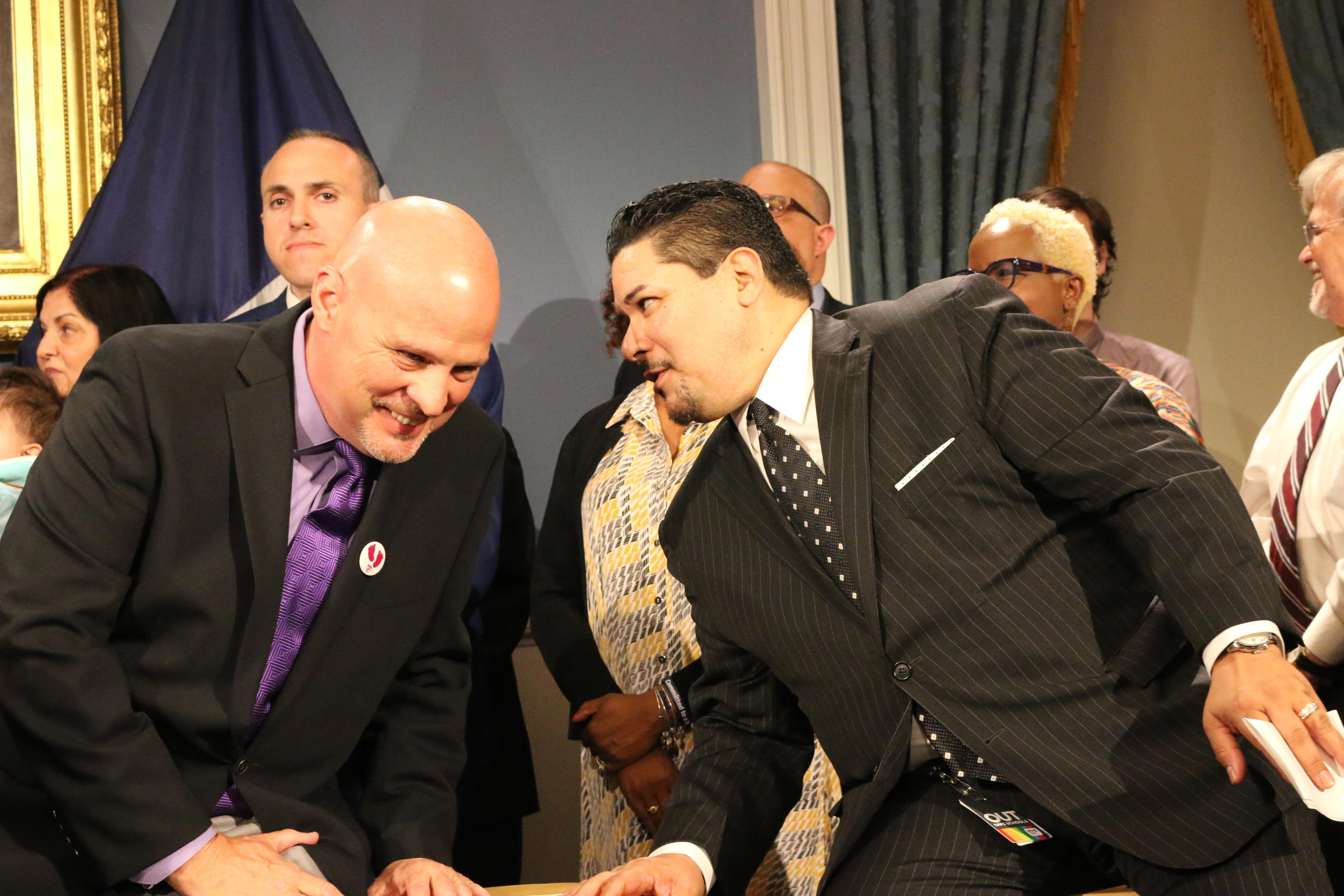 UFT President Michael Mulgrew (right) and schools Chancellor Richard Carranza (left) at a press conference in June.
