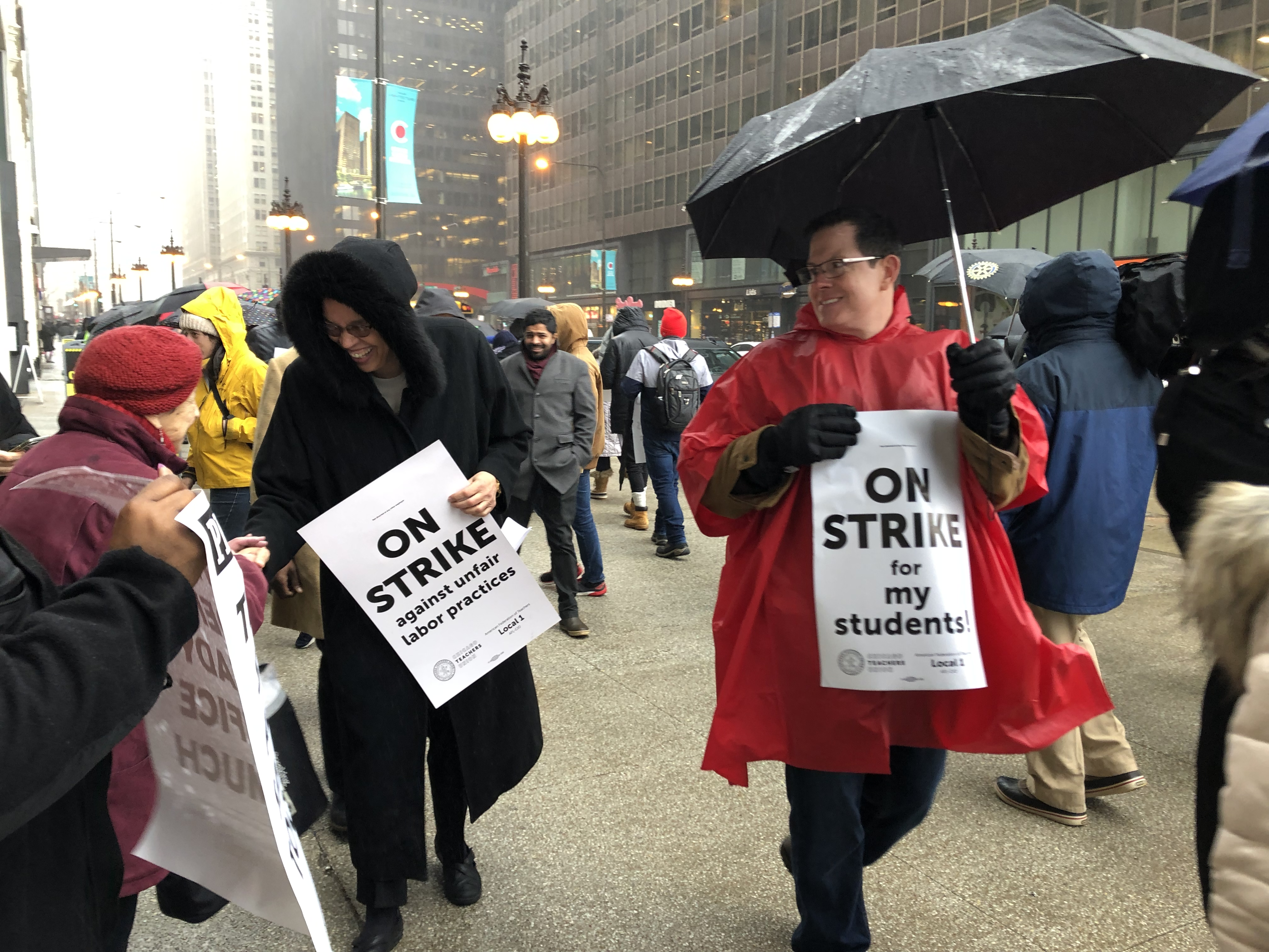 Chicago mayoral candidate Toni Preckwinkle, left, joined striking Chicago International Charter Schools teachers on a picket line at the Illinois Network of Charter Schools on Thursday, Feb. 7, 2019.