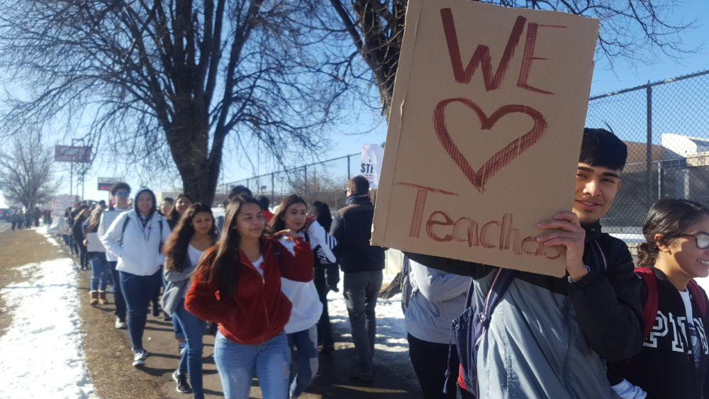 Lincoln High students on the first day of Denver's teacher strike.