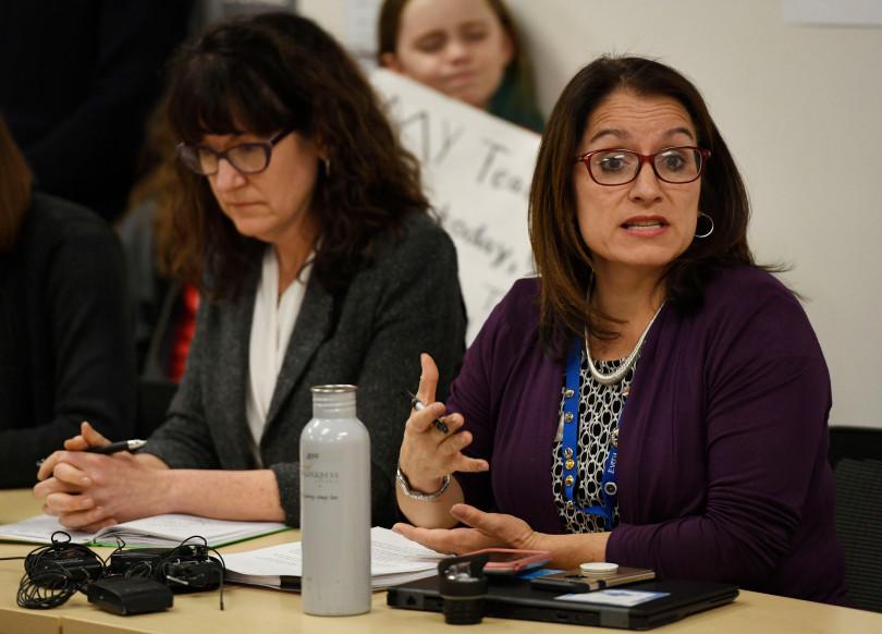 Denver Superintendent Susana Cordova, right, speaks during negotiations with the Denver Classroom Teachers Association in 2019.