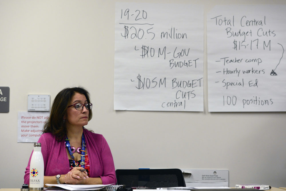 Denver Superintendent Susana Cordova listens to a packed room of teachers on Jan. 31 during negotiations between the district and the teachers union.