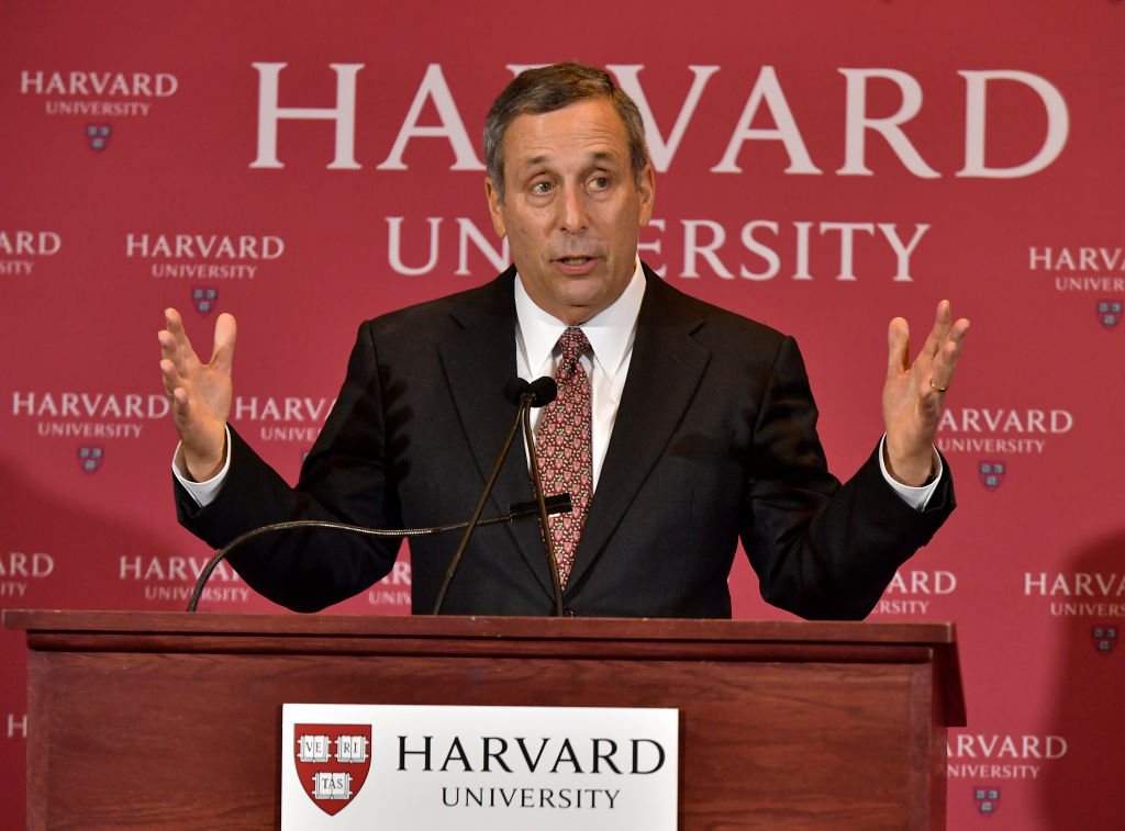 Lawrence Bacow became Harvard University's president in 2018.