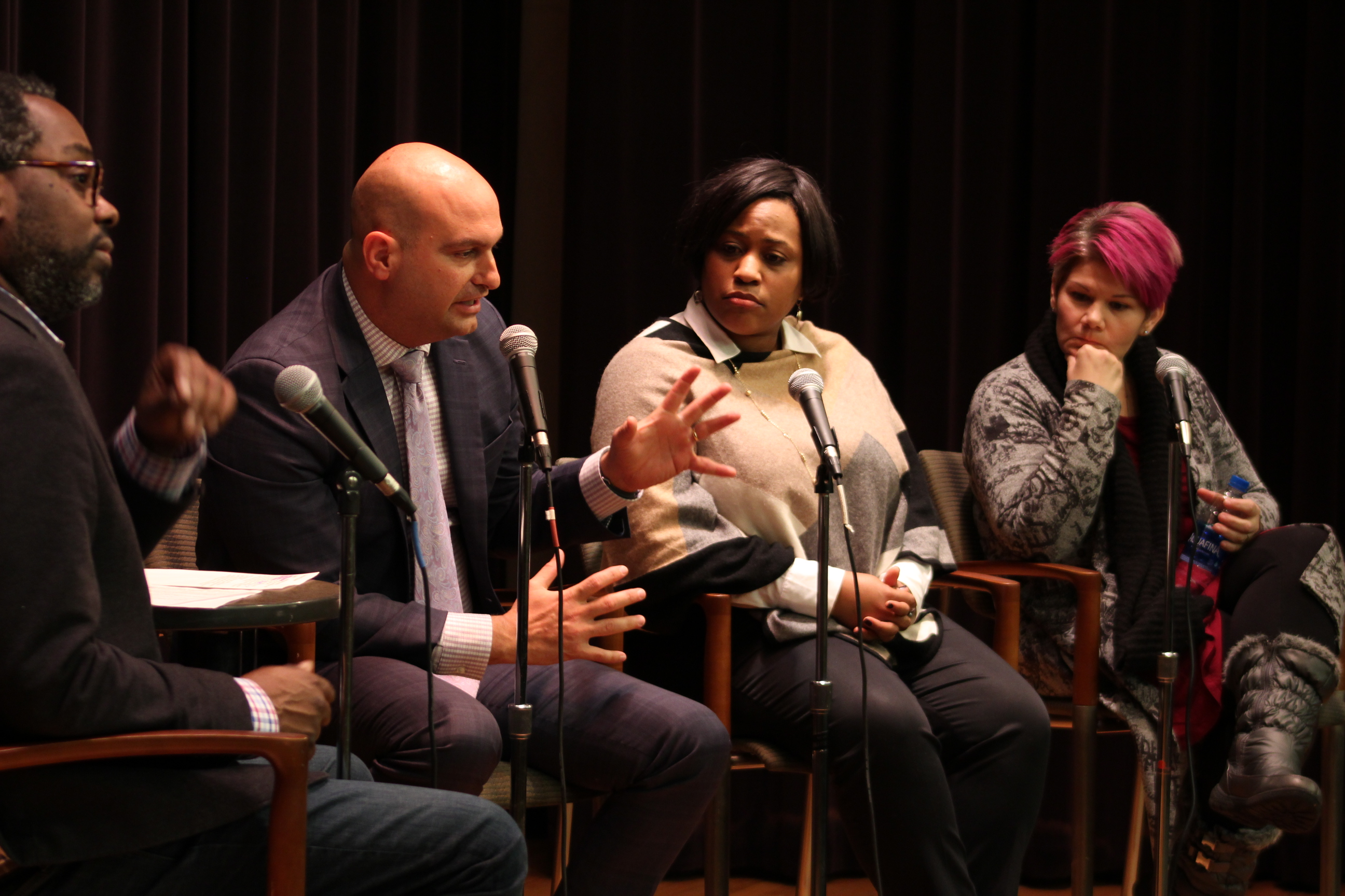 Detroit Superintendent Nikolai Vitti, second from left, says a tweak to school funding policy in Michigan would alleviate some of the effects of high student mobility. Looking on from left are moderator Stephen Henderson of WDET, Darienne Driver, CEO of United Way of Southeastern Michigan, and Maria Montoya, who works in the charter school office of Grand Valley State University.