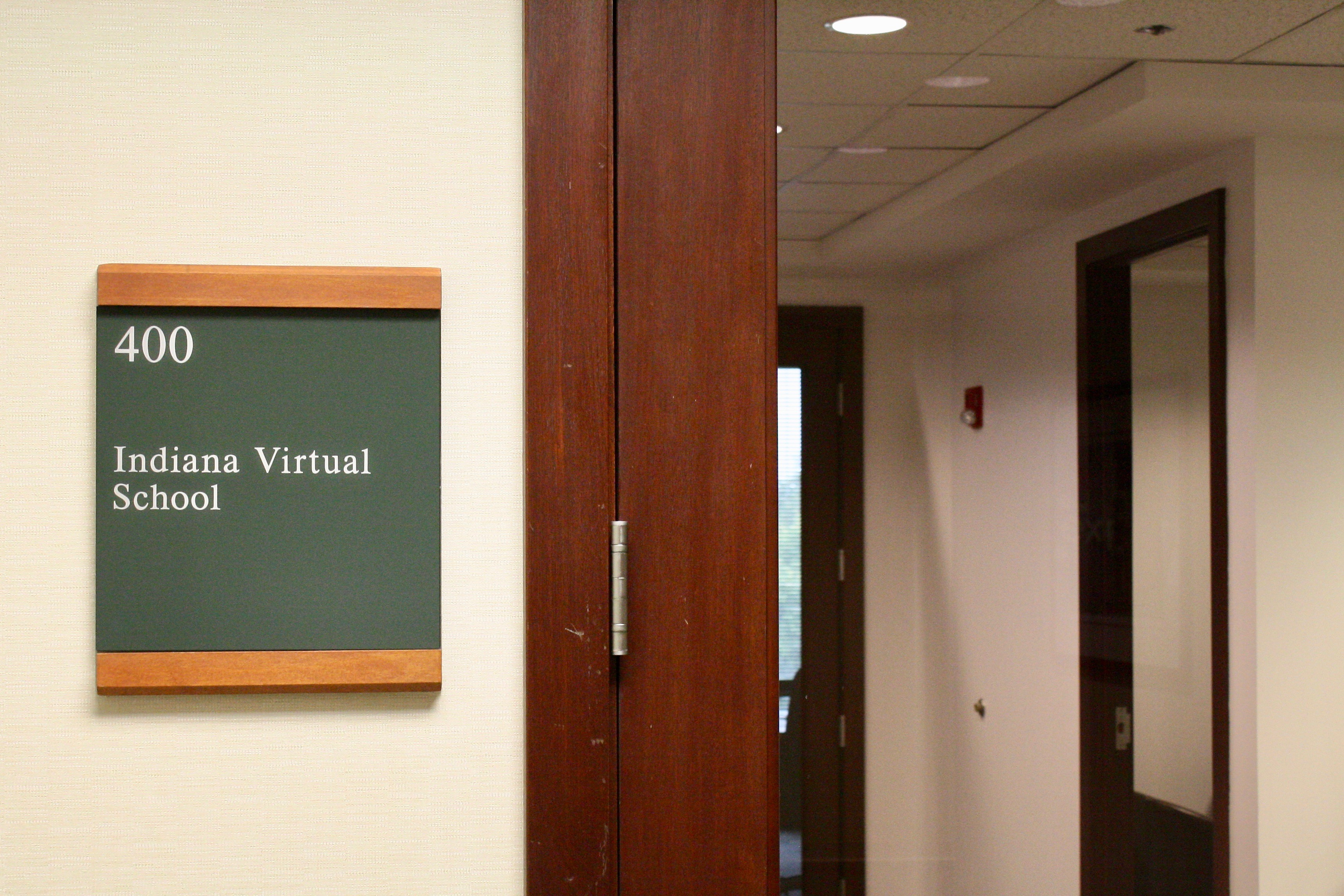 A view outside of Indiana Virtual School's office, located in an office park at the northern edge of Marion County.