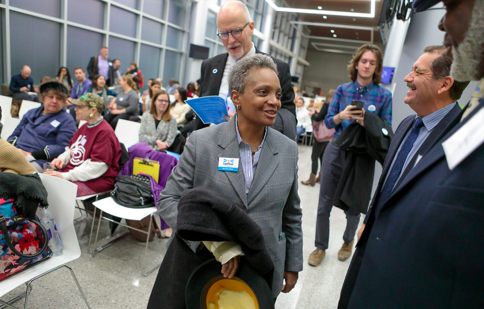 Lori Lightfoot appeared at a Chalkbeat Chicago event in December about the future of the city's public schools.