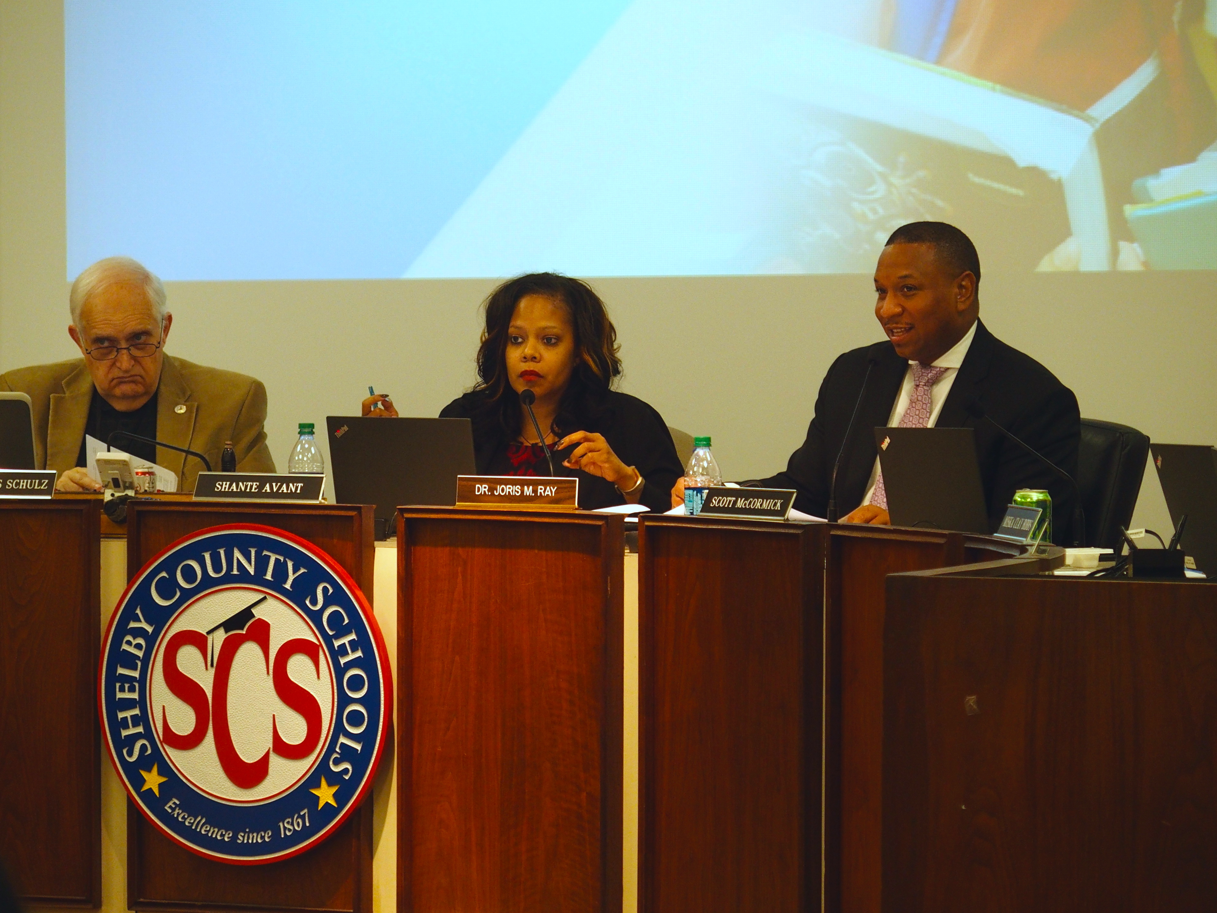 Interim superintendent Joris Ray leading his first Shelby County Schools board meeting.