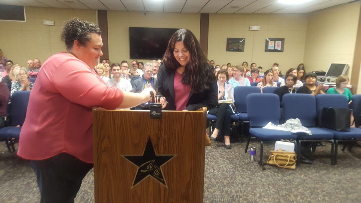 Laura Martinez, on the right, was sworn in as a member of the Adams 14 school board.